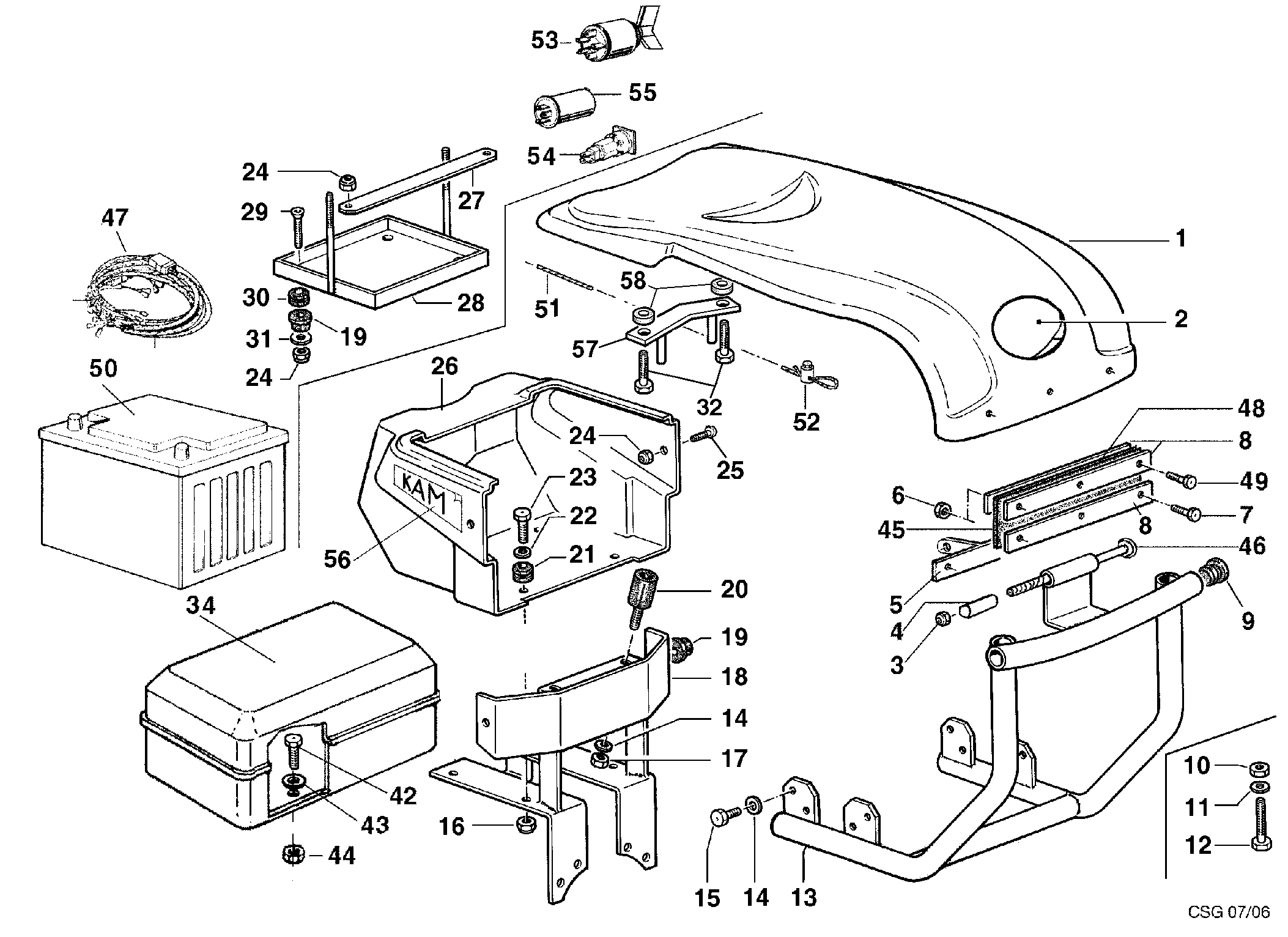 KAM 5 (jusqu'en 2009) Motoculteur OLEOMAC NIBBI vue éclatée Dessins pièces - Capot polyuréthane