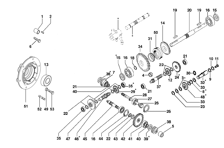 BRIK 3 (EN 709) Motoculteur OLEOMAC NIBBI vue éclatée Dessins pièces -  Embrayage et engrenages de la boite à vitesse