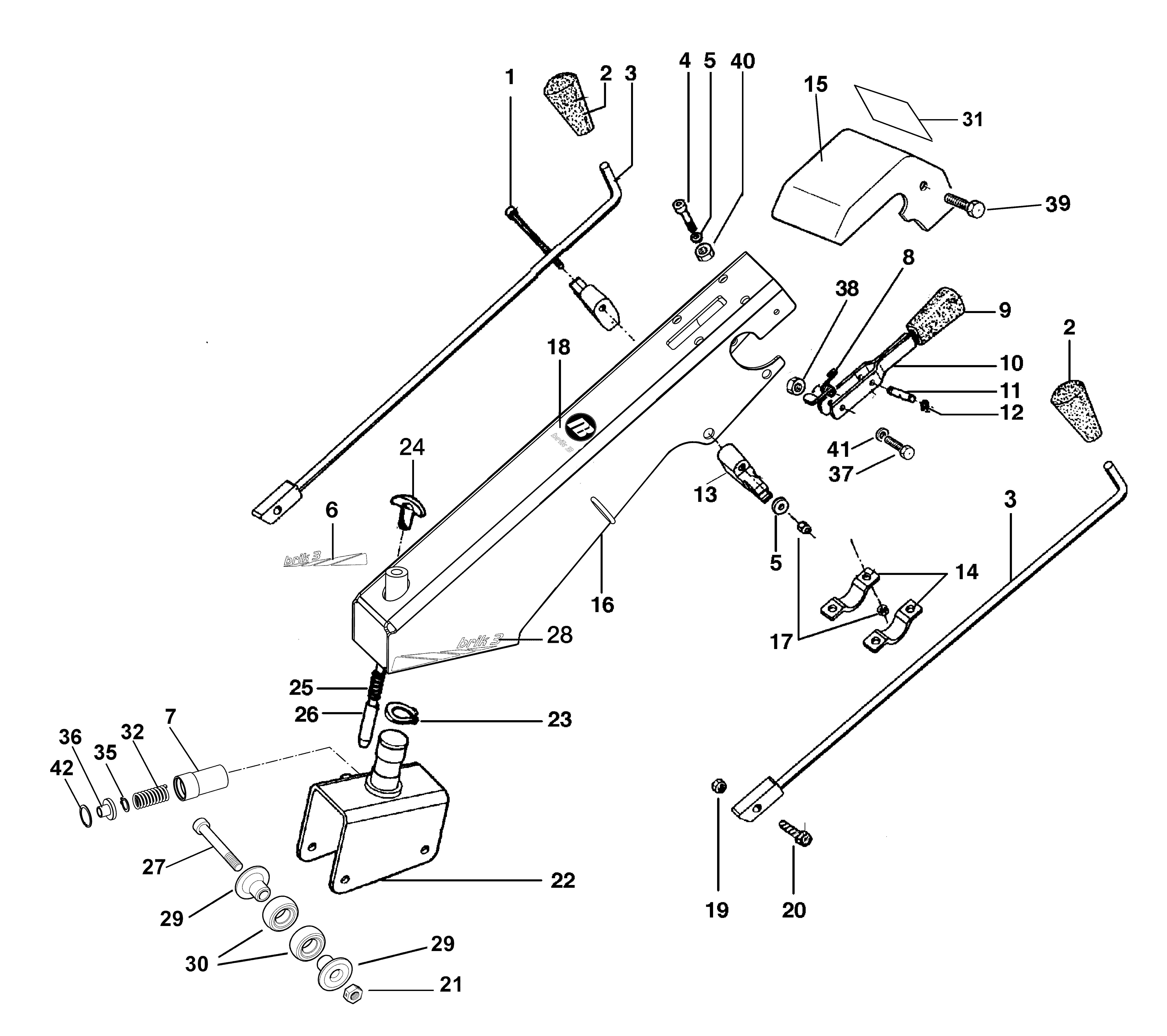 BRIK 3 (EN 709) Motoculteur OLEOMAC NIBBI vue éclatée Dessins pièces -  Tige guidon et mancheron