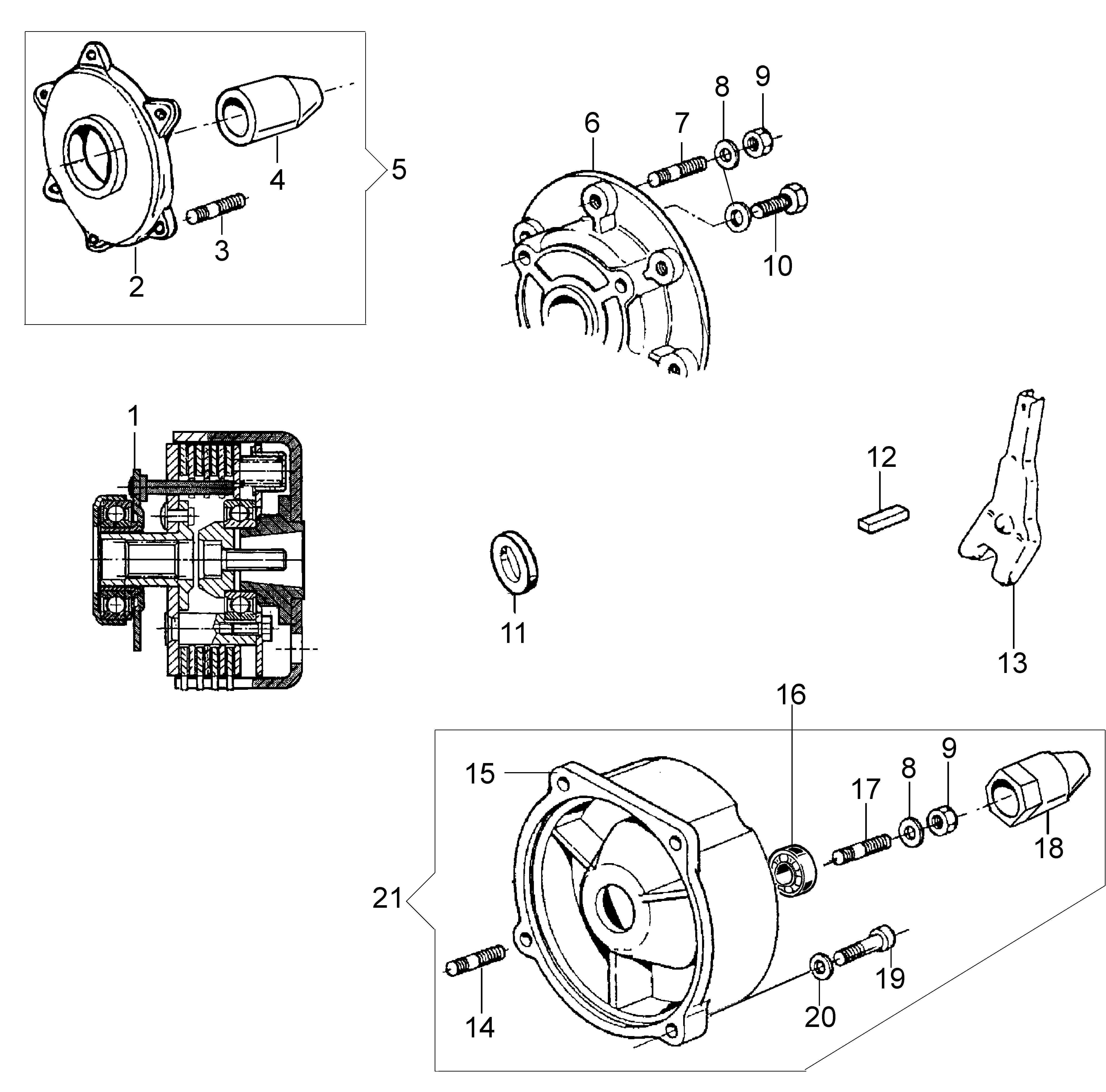 KAM 5 (EN 709) Motoculteur OLEOMAC NIBBI vue éclatée Dessins pièces -  Embrayage