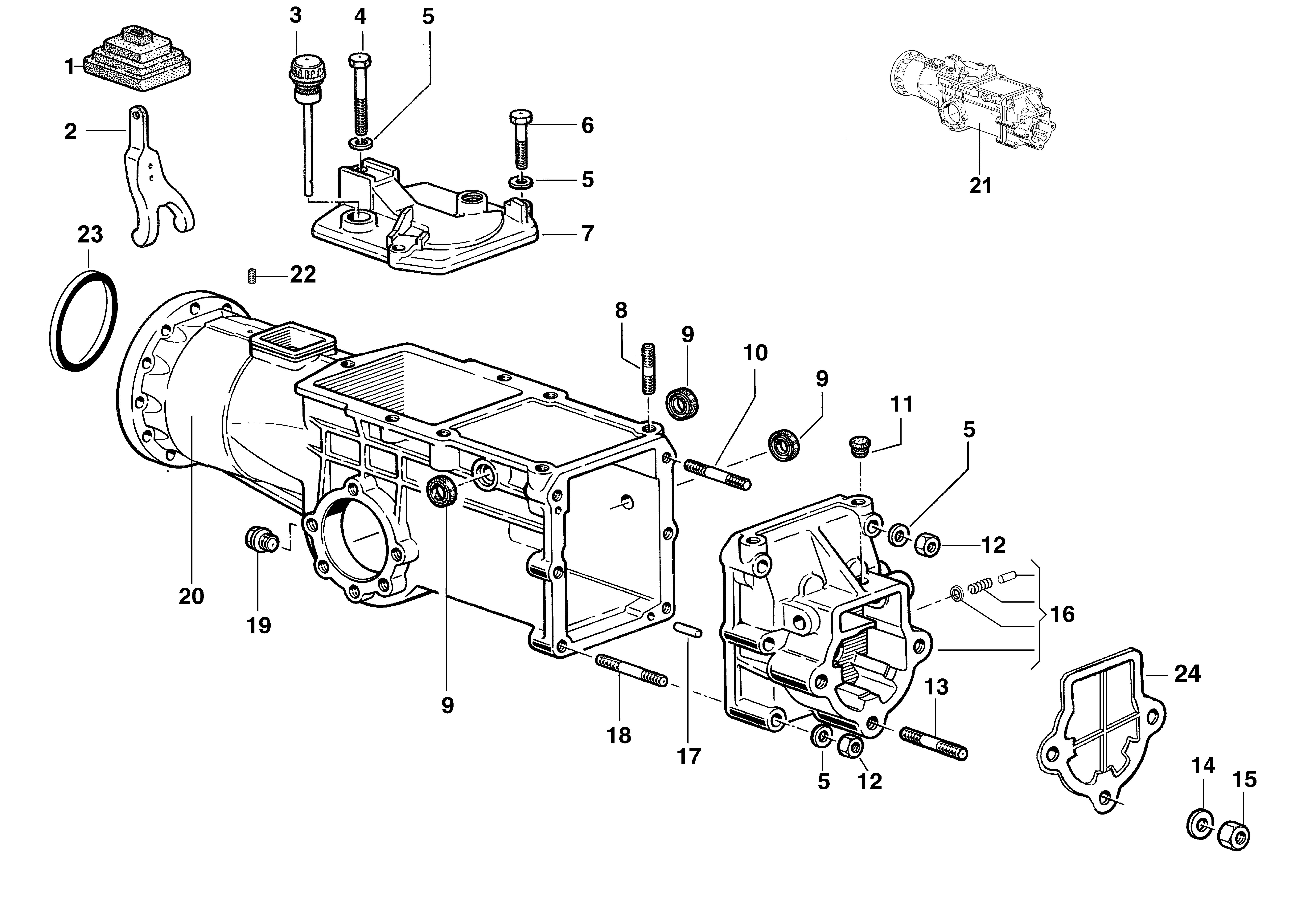 KAM 5 HF (EN 709) Motoculteur  Motoculteur OLEOMAC NIBBI vue éclatée  Dessins pièces -  Boite à vitesse