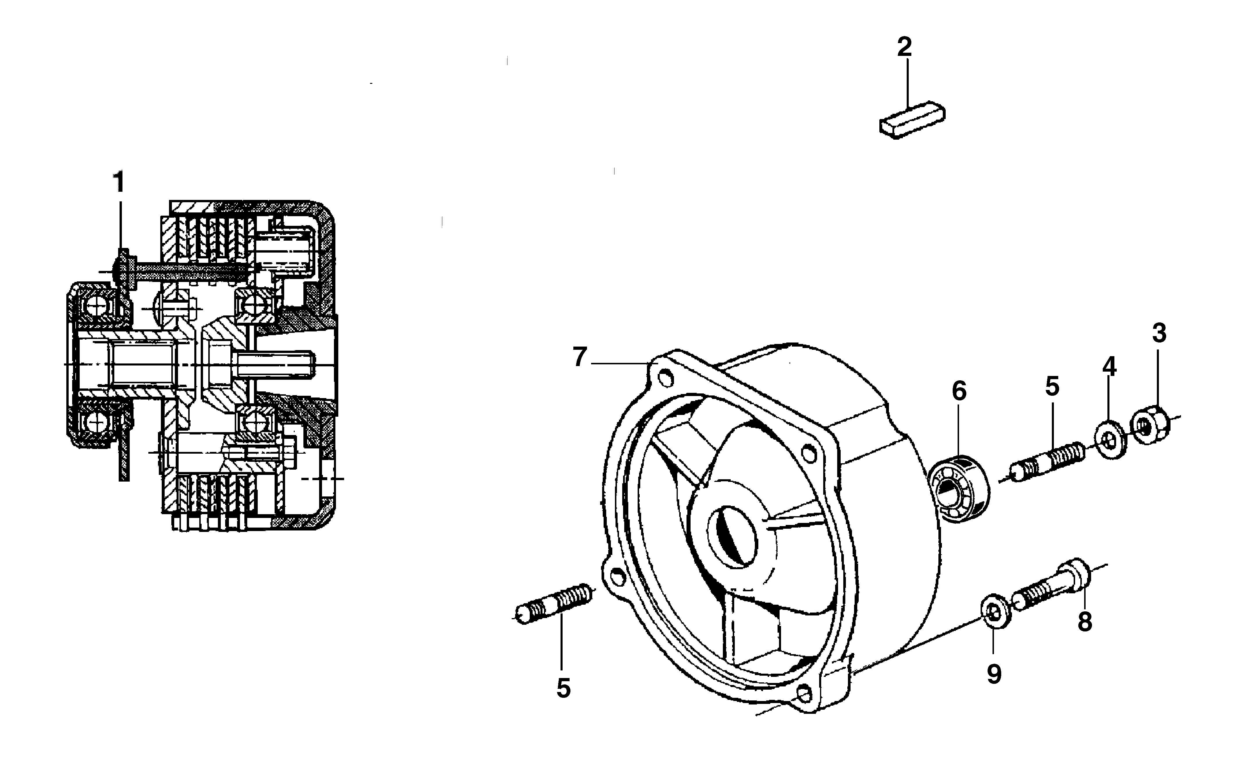 KAM 5 HF (EN 709) Motoculteur  Motoculteur OLEOMAC NIBBI vue éclatée  Dessins pièces -  Embrayage