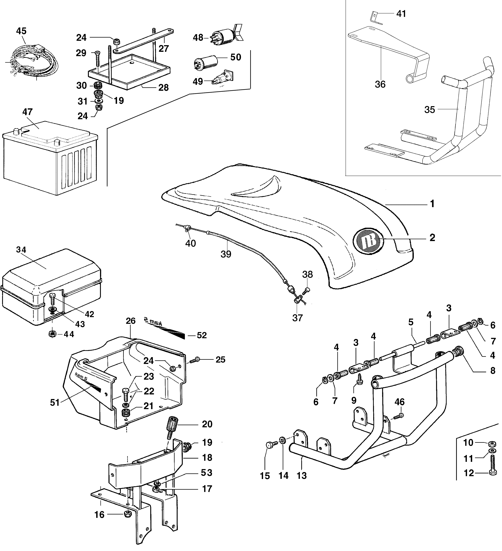 KAM 5 (EN 709) Motoculteur OLEOMAC NIBBI vue éclatée Dessins pièces - Injection capot