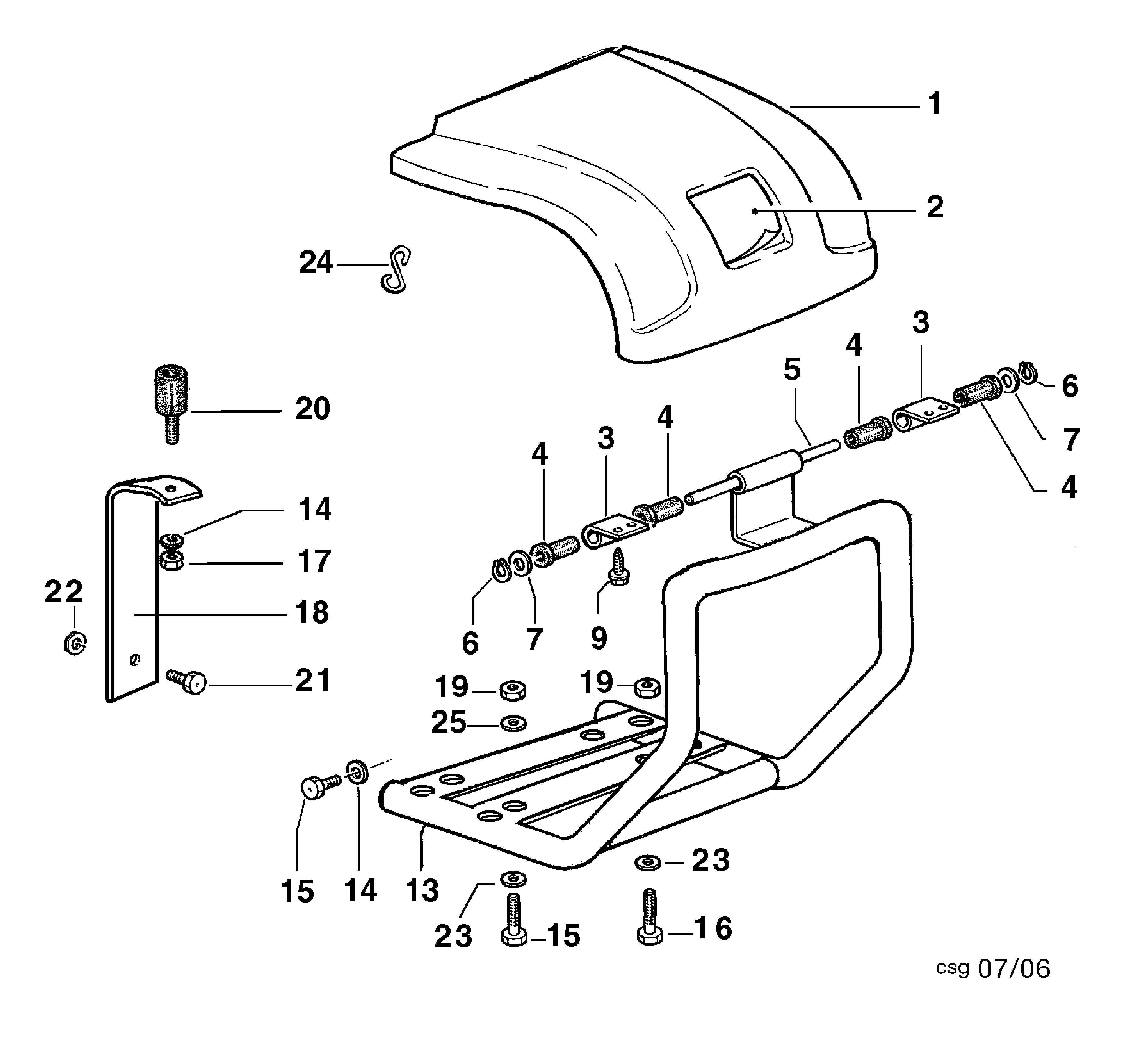BRIK 3 (jusqu'en 2009) Motoculteur OLEOMAC NIBBI vue éclatée  Dessins pièces - Coffre