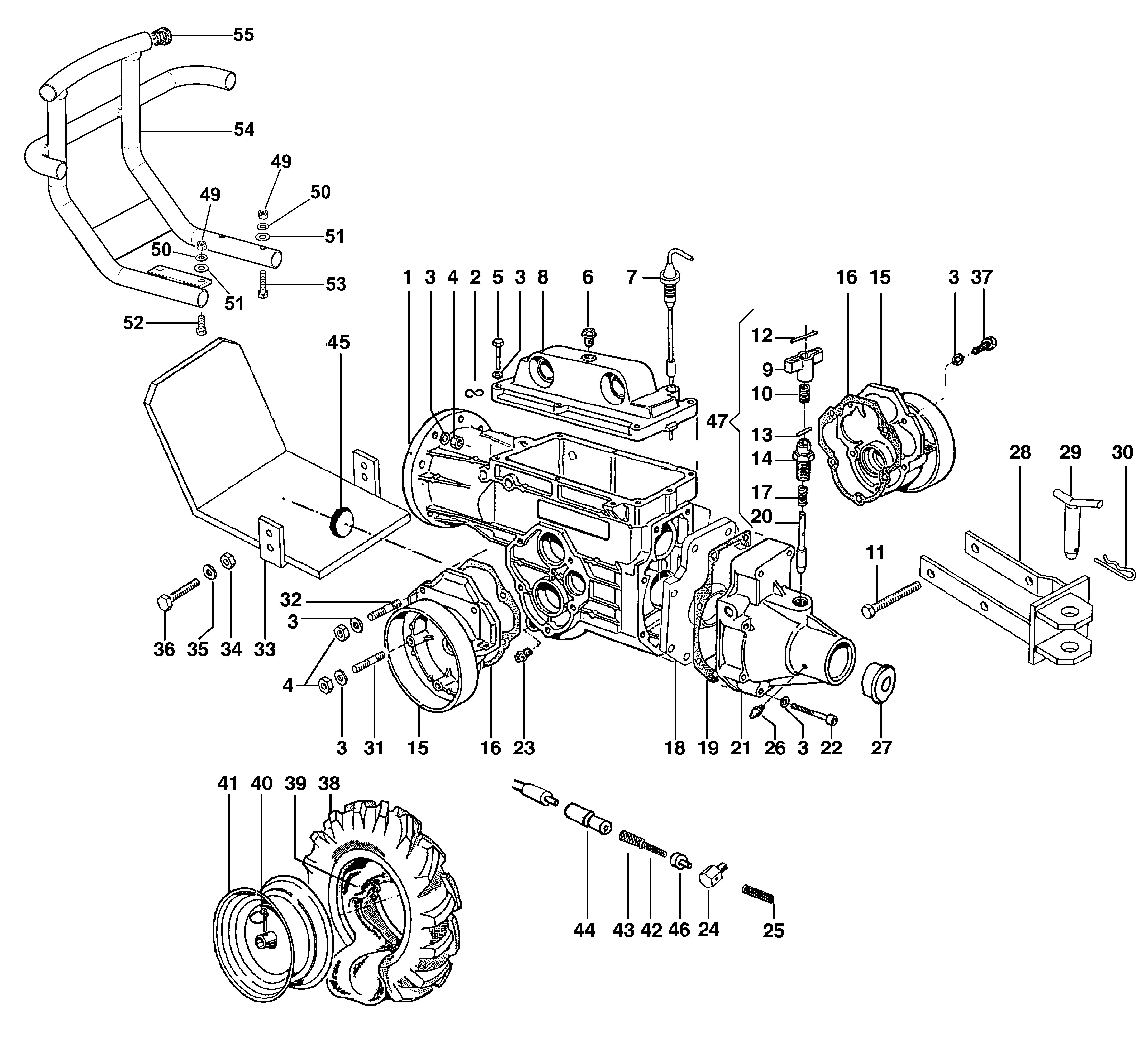 BRIK 3 (jusqu'en 2009) Motoculteur OLEOMAC NIBBI vue éclatée  Dessins pièces - Boîte à vitesse et roues