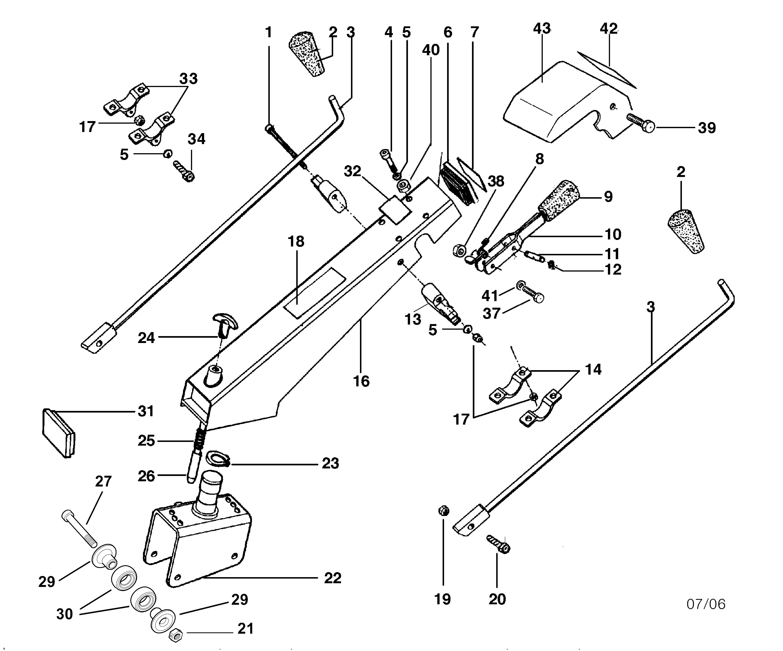 BRIK 3 (jusqu'en 2009) Motoculteur OLEOMAC NIBBI vue éclatée  Dessins pièces - Tige guidon et mancheron
