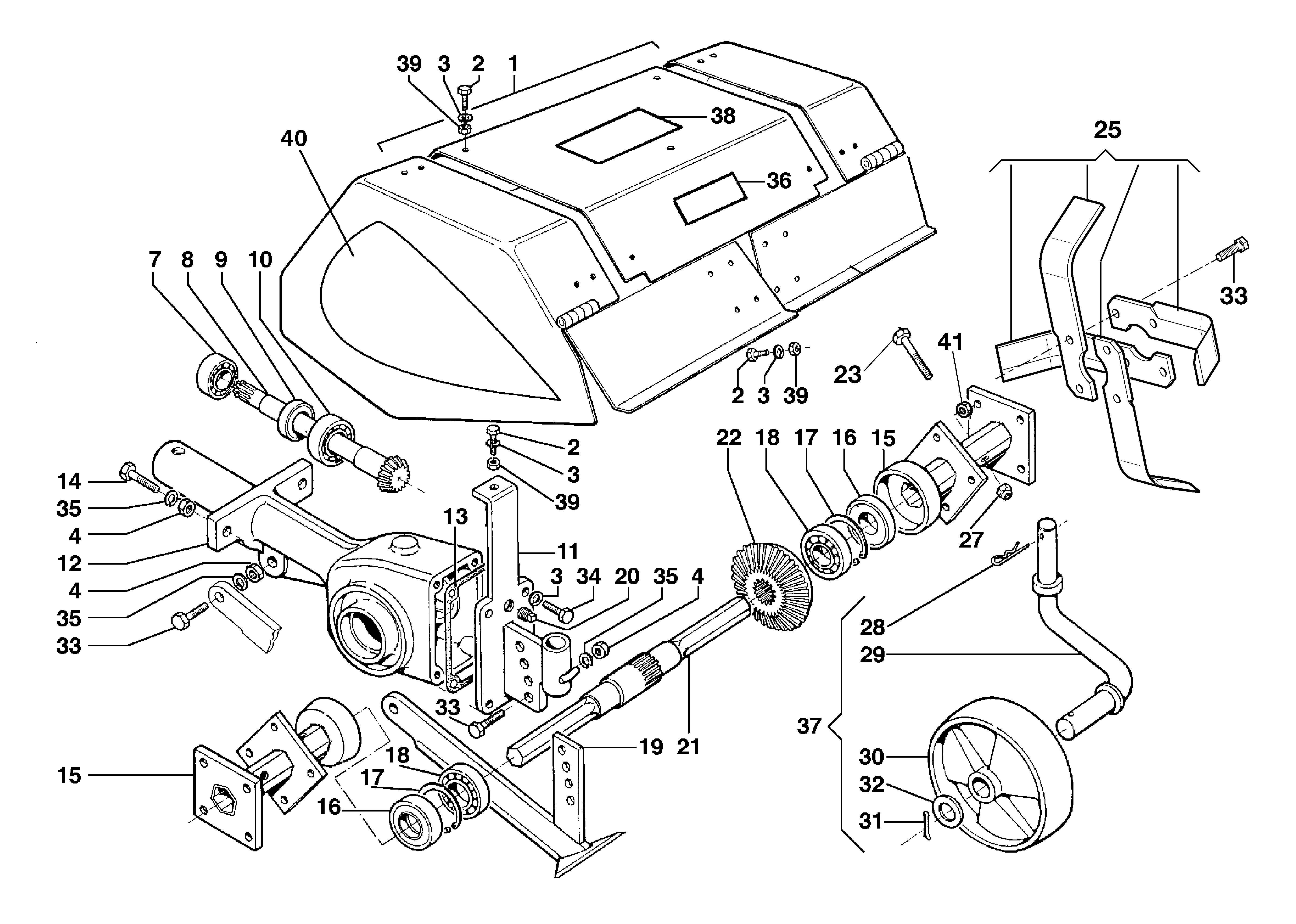 BRIK 3 (jusqu'en 2009) Motoculteur OLEOMAC NIBBI vue éclatée  Dessins pièces - Fraise