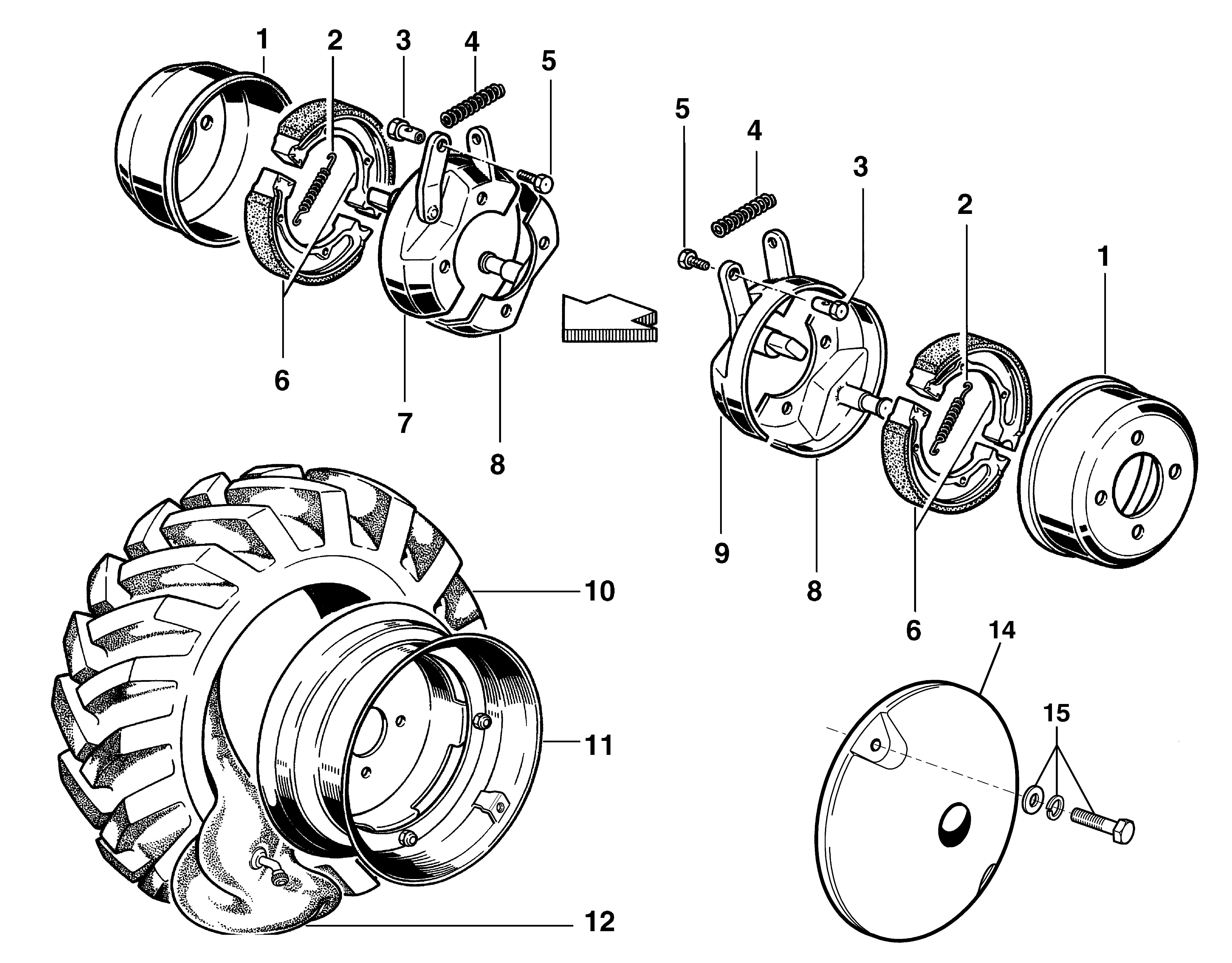 KAM 5 (jusqu'en 2012) Motoculteur  OLEOMAC NIBBI vue éclatée   Dessins pièces -  Frein et roues