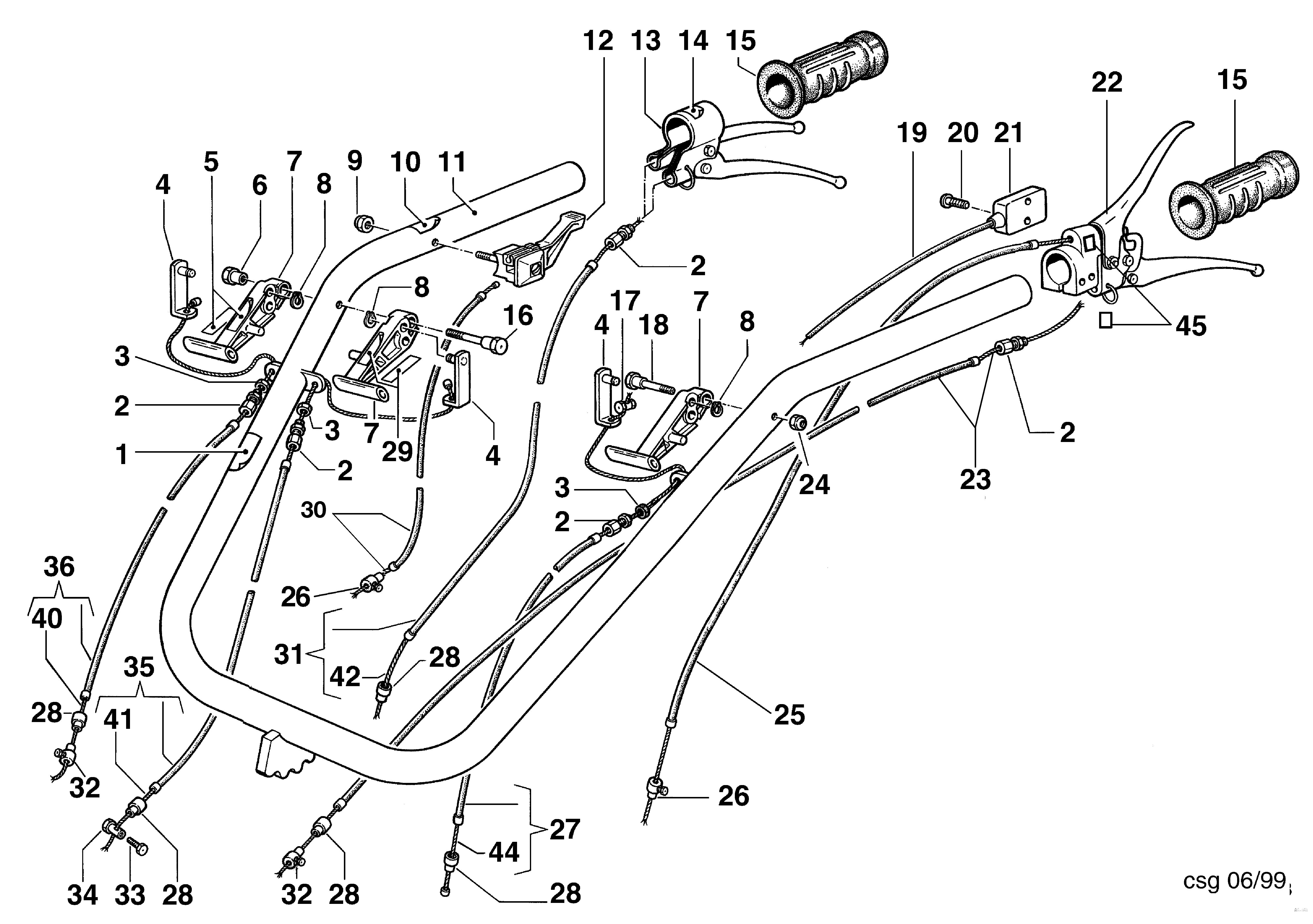 KAM 5 (jusqu'en 2012) Motoculteur OLEOMAC NIBBI vue éclatée  Dessins pièces - Mancheron et commandes