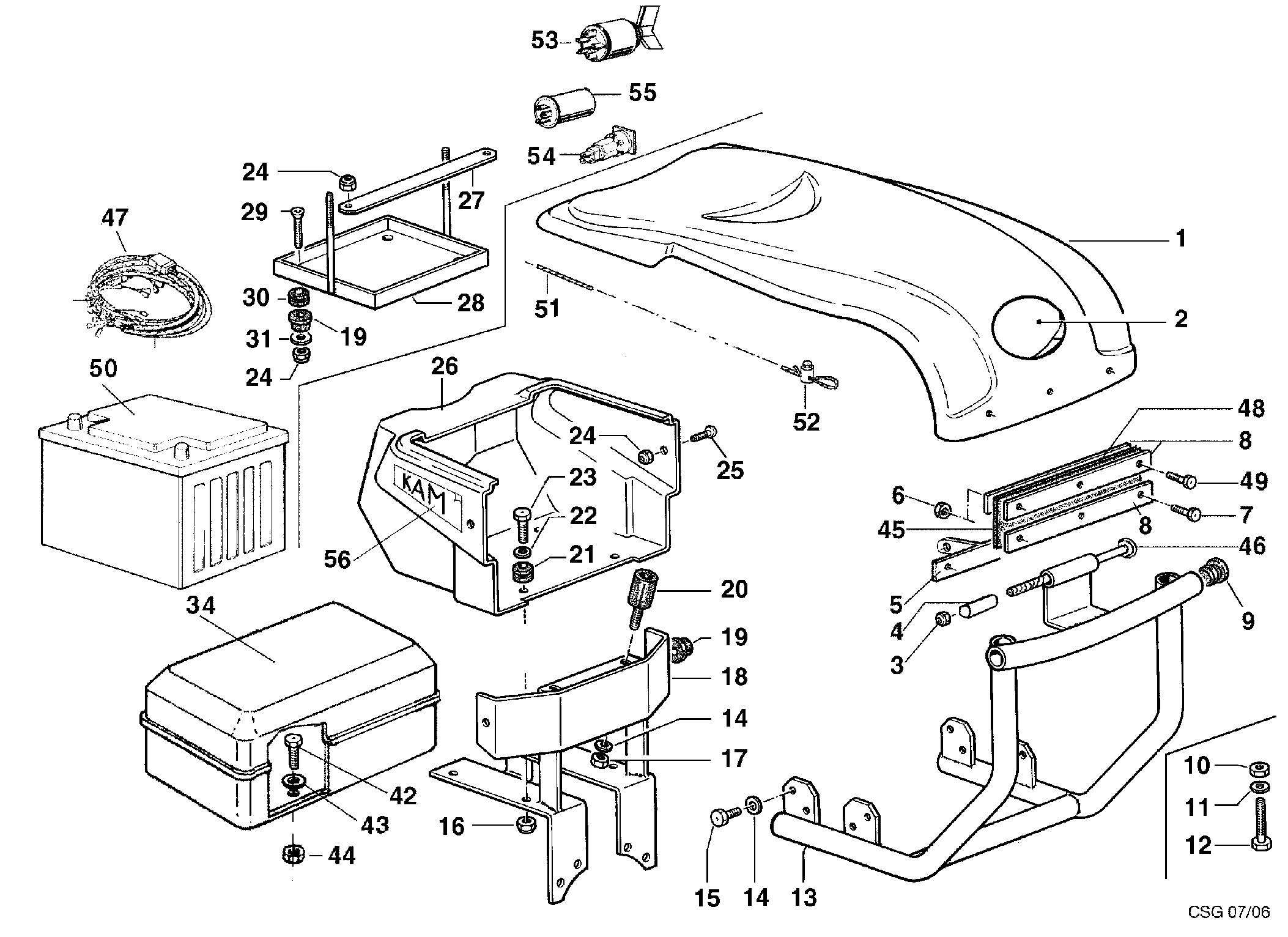 KAM 5 (jusqu'en 2009) Motoculteur OLEOMAC NIBBI vue éclatée Dessins pièces - Injection capot