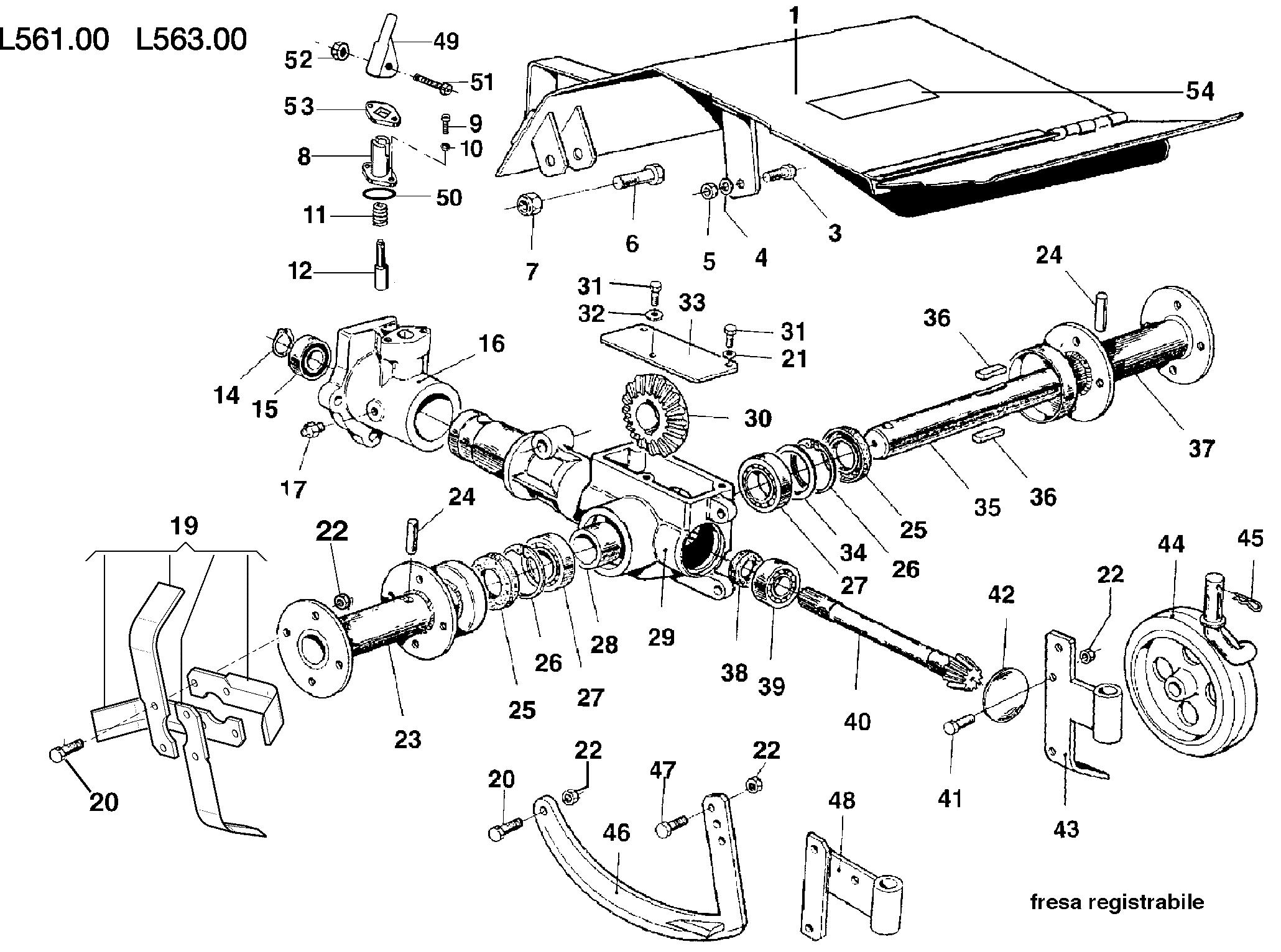KAM 5 (jusqu'en 2009) Motoculteur OLEOMAC NIBBI vue éclatée Dessins pièces - Fraise registrable L0056100/L0056300