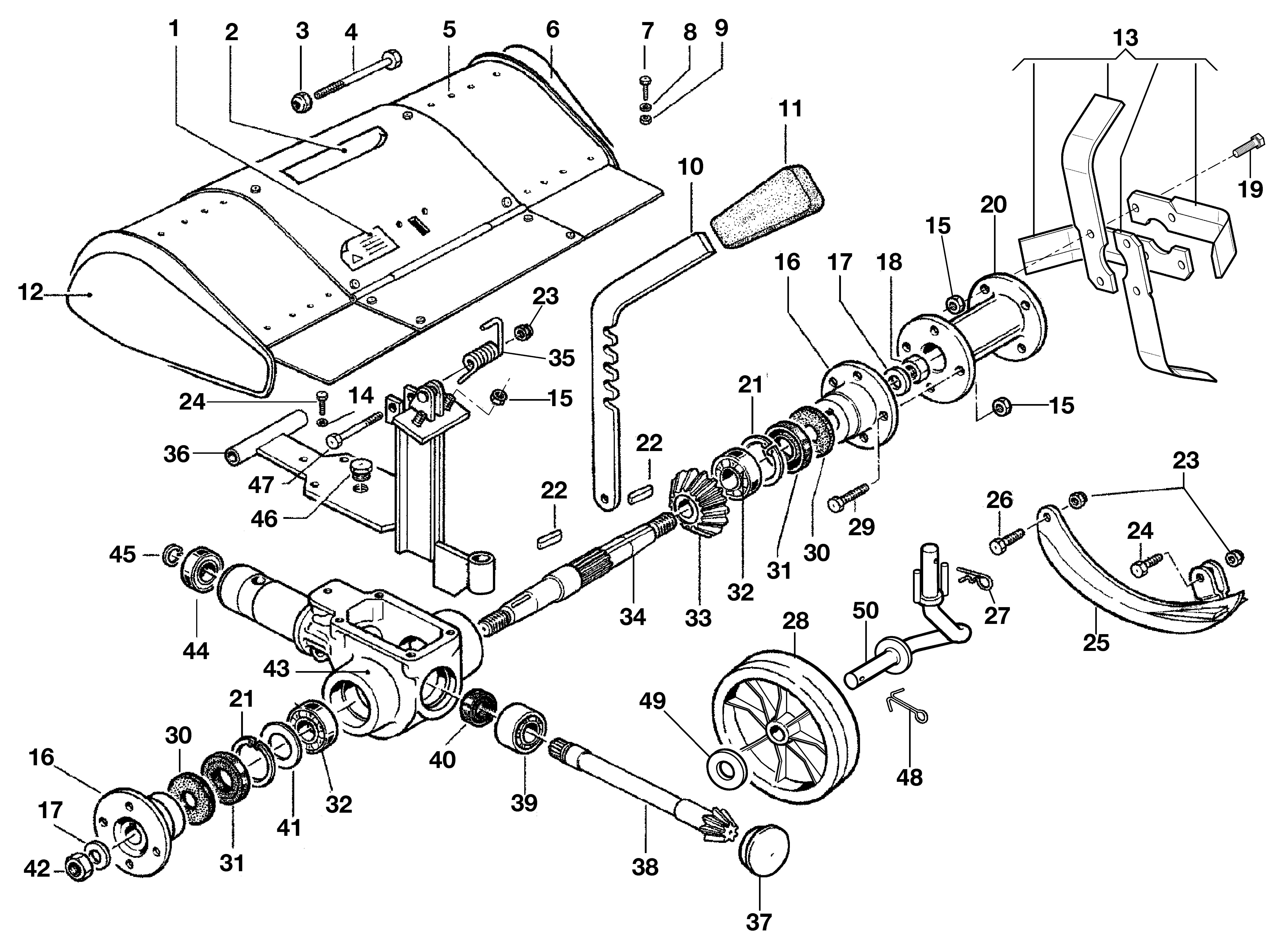 KAM 5 HF Motoculteur  OLEOMAC NIBBI vue éclatée  Dessins pièces -  Fraise avec quickfit