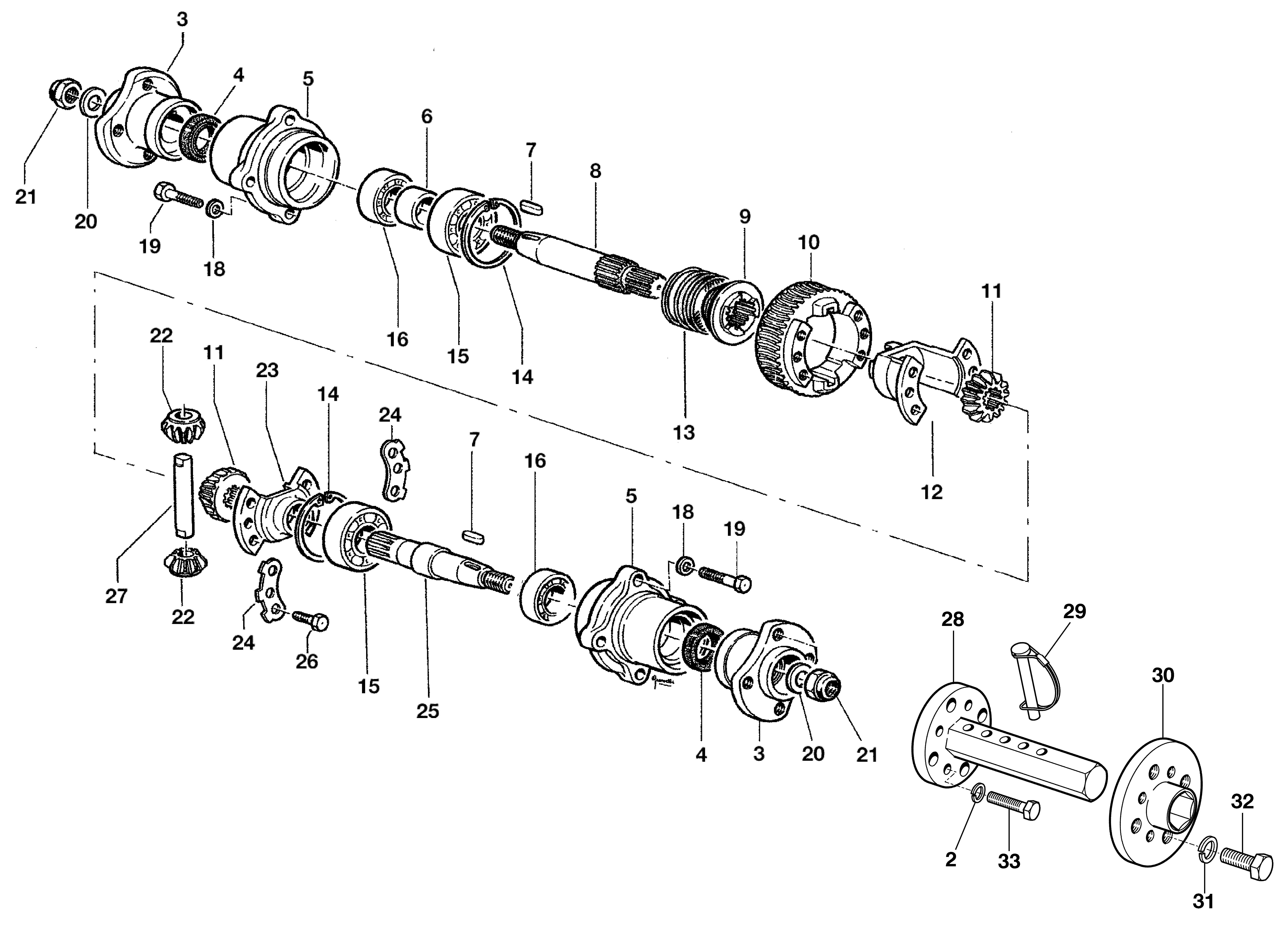 KAM 5 HF Motoculteur  OLEOMAC NIBBI vue éclatée  Dessins pièces -  Arbre avec différentiel