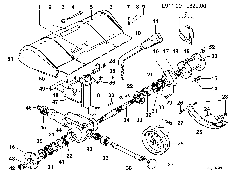 KAM 5 (jusqu'en 2009) Motoculteur OLEOMAC NIBBI vue éclatée Dessins pièces - Fraise avec quickfit L0091100/L0082900