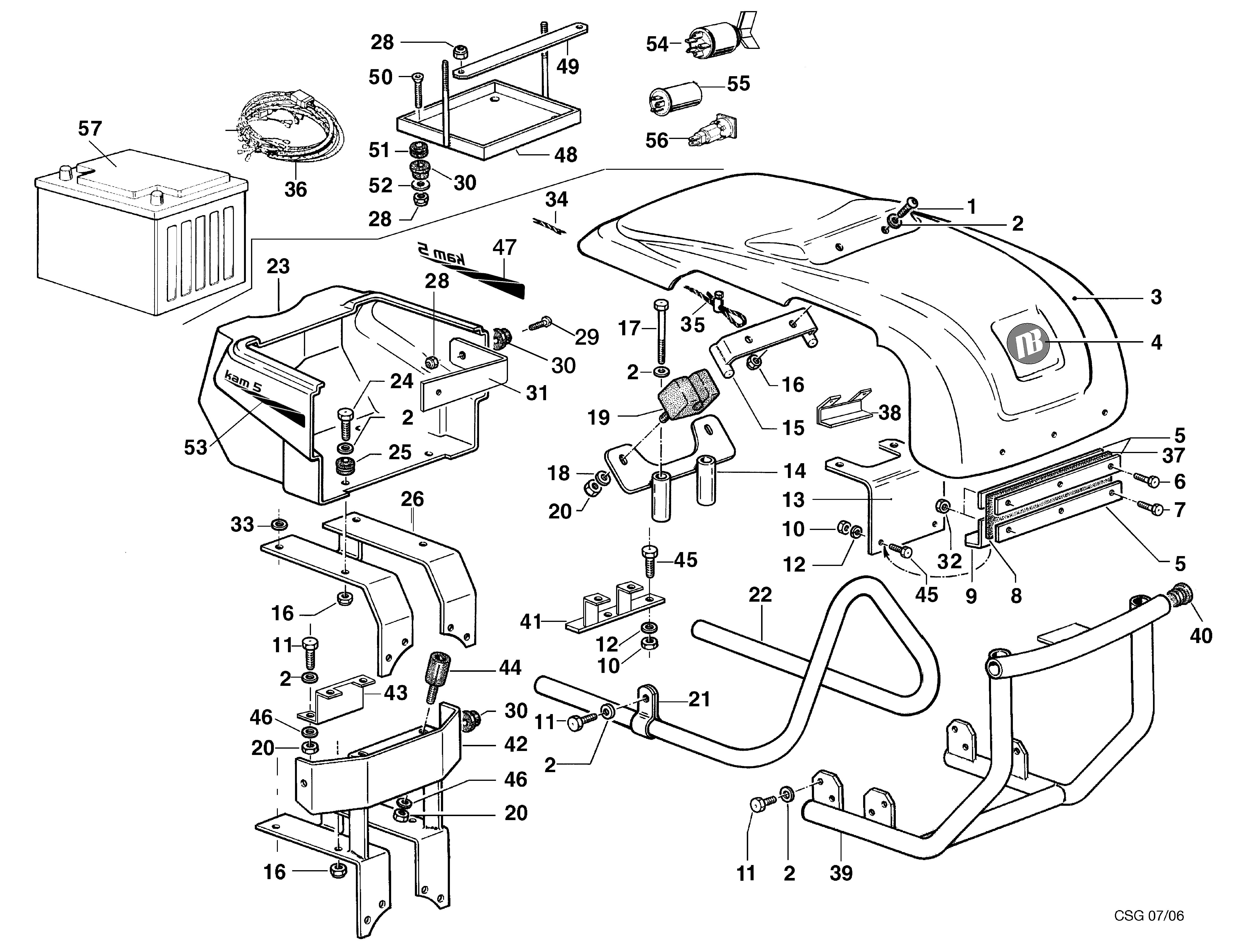 KAM 5 (jusqu'en 2012) Motoculteur OLEOMAC NIBBI vue éclatée  Dessins pièces - Coffre