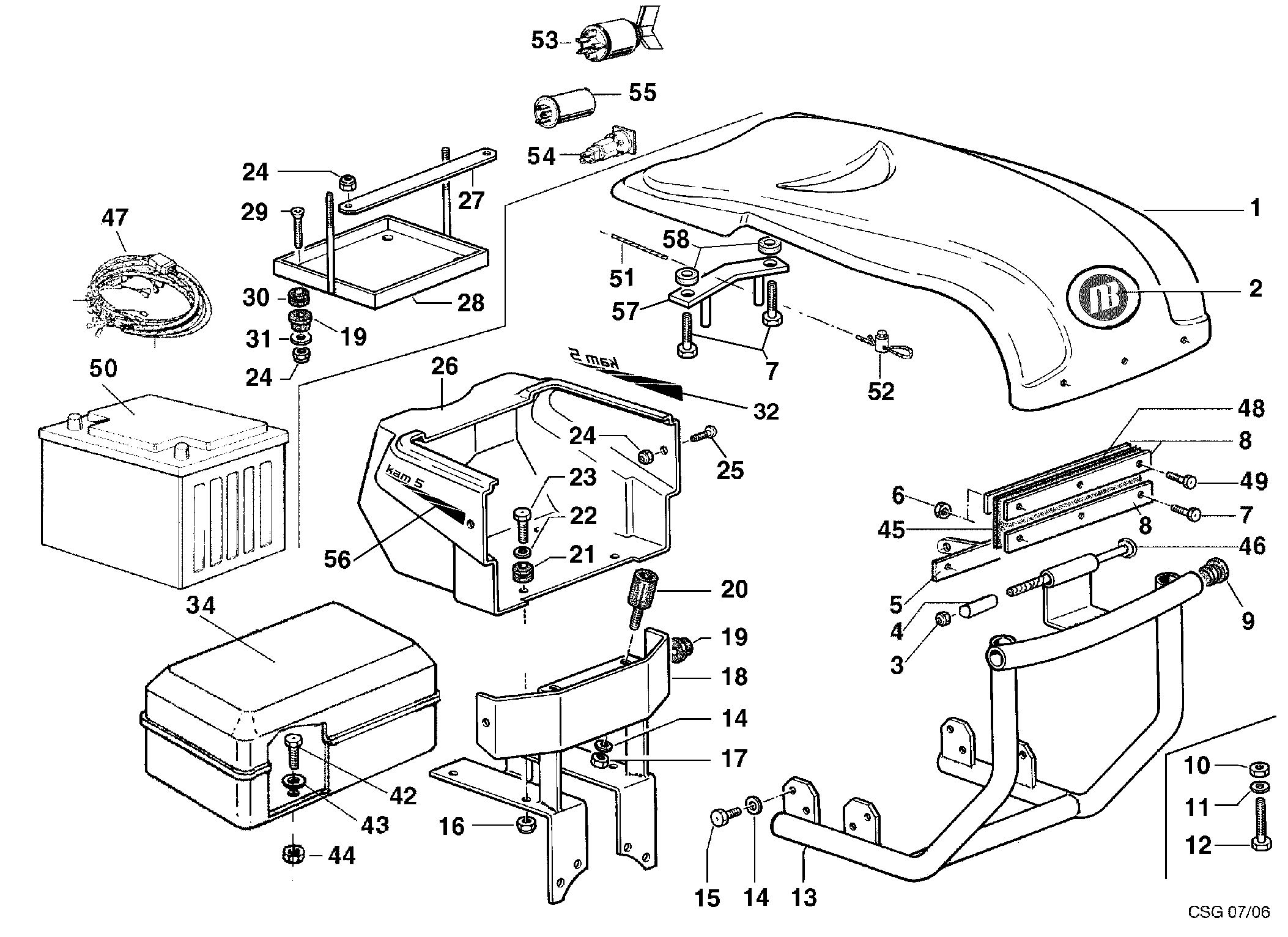 KAM 5 (jusqu'en 2012) Motoculteur OLEOMAC NIBBI vue éclatée  Dessins pièces - Injection capot