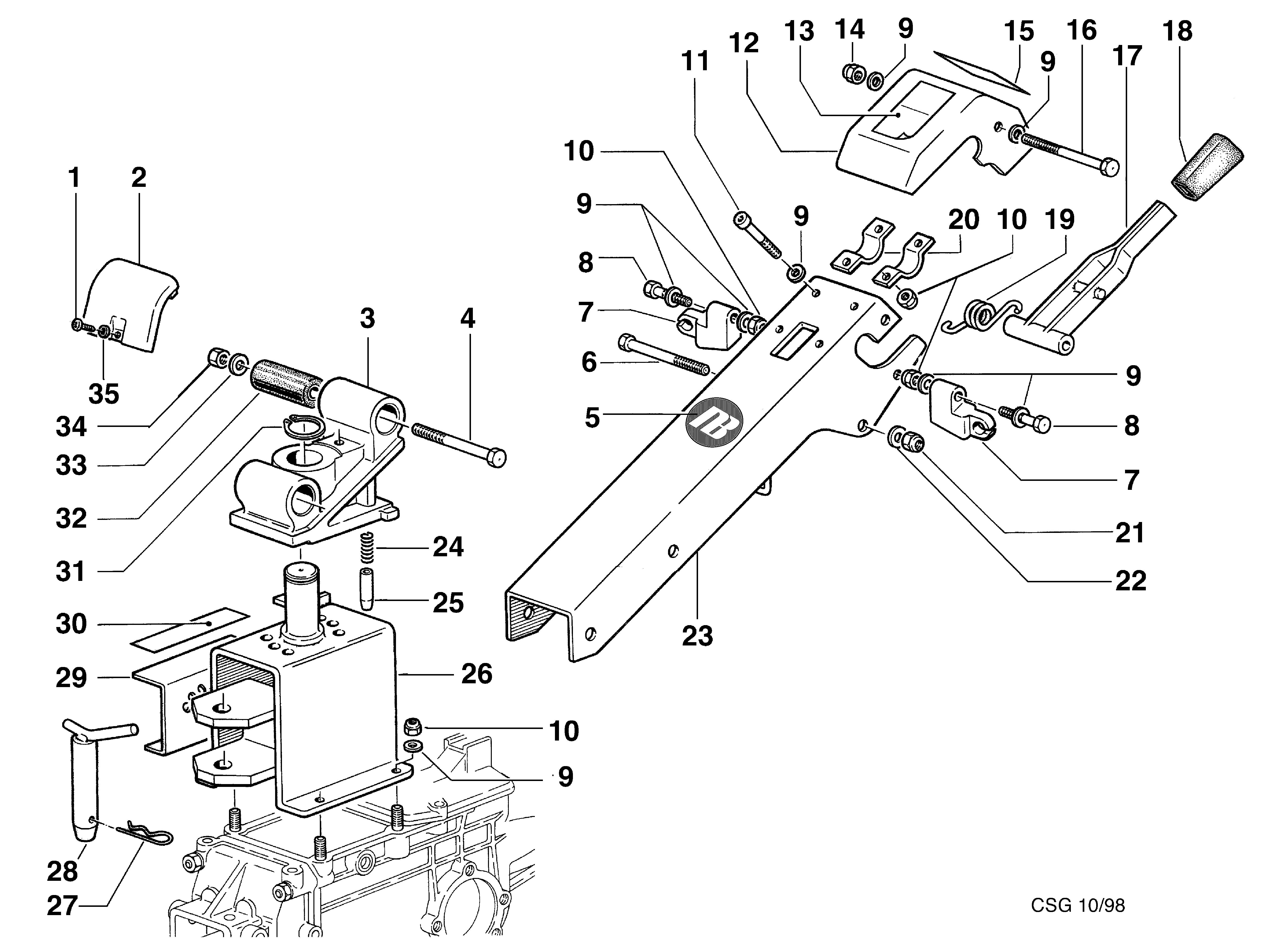 KAM 5 (jusqu'en 2012) Motoculteur OLEOMAC NIBBI vue éclatée  Dessins pièces - Support