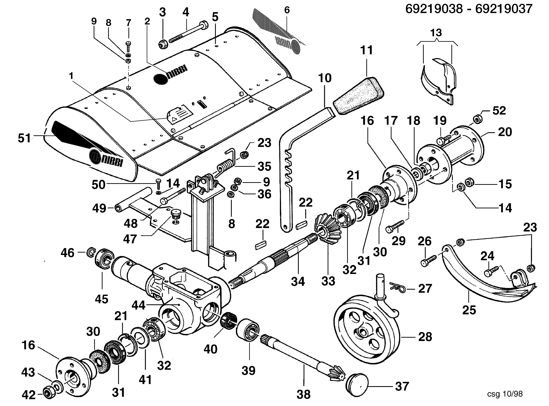 KAM 5 (jusqu'en 2012) Motoculteur OLEOMAC NIBBI vue éclatée  Dessins pièces - Fraise avec quickfit 69219038/69219037