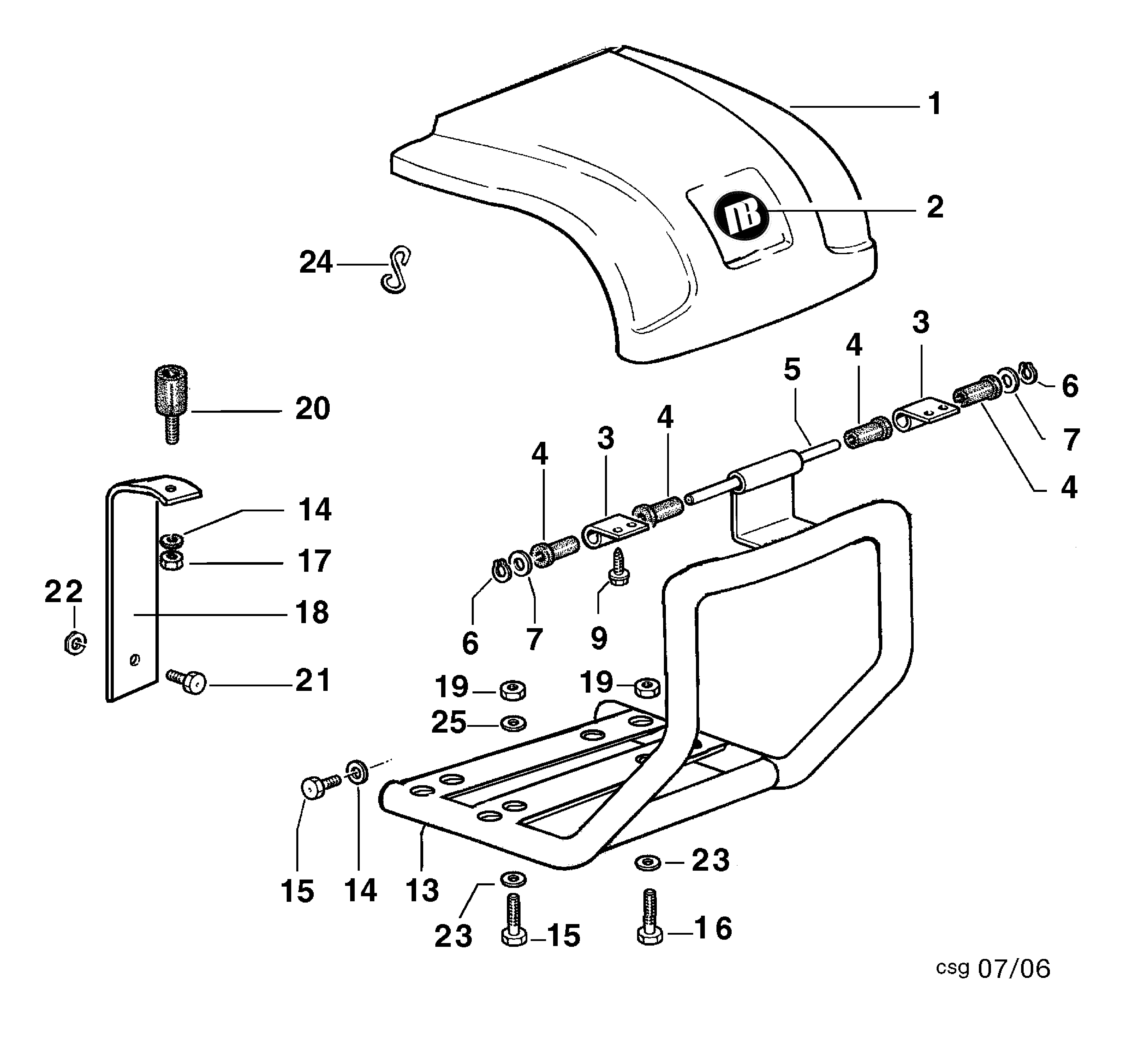 BRIK 3 (EN 709) Motoculteur OLEOMAC NIBBI vue éclatée Dessins pièces -  Coffre