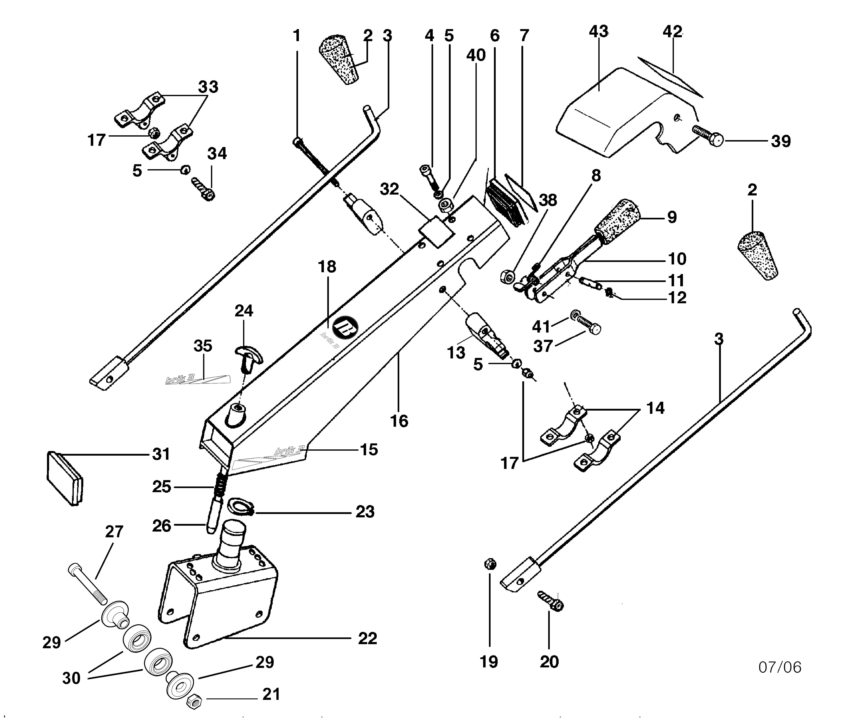 BRIK 3 (jusqu'en 2012) Motoculteur  OLEOMAC NIBBI  vue éclatée  Dessins pièces -  Tige guidon et mancheron