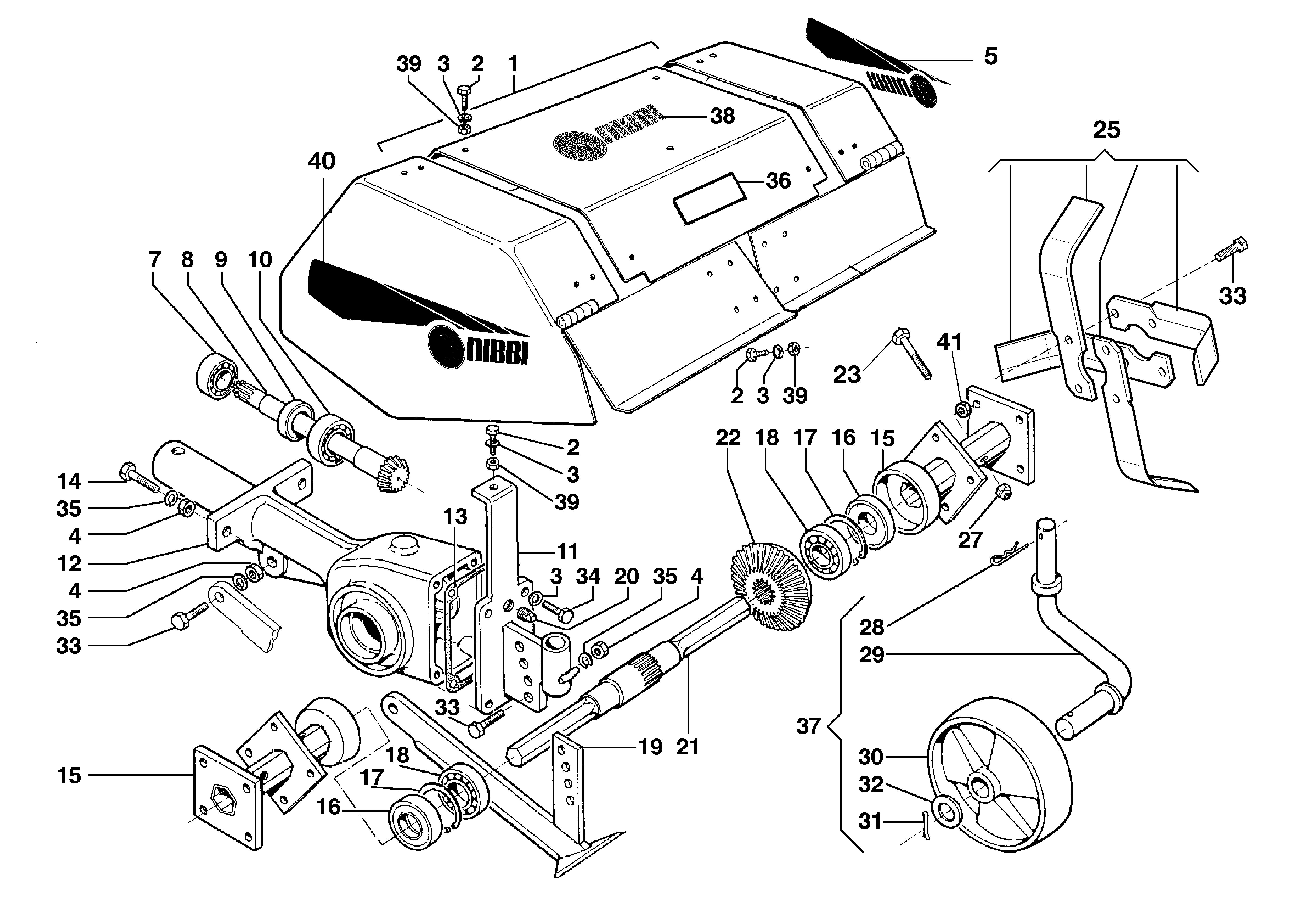 BRIK 3 (EN 709) Motoculteur OLEOMAC NIBBI vue éclatée Dessins pièces -  Fraise 69219018/69219019