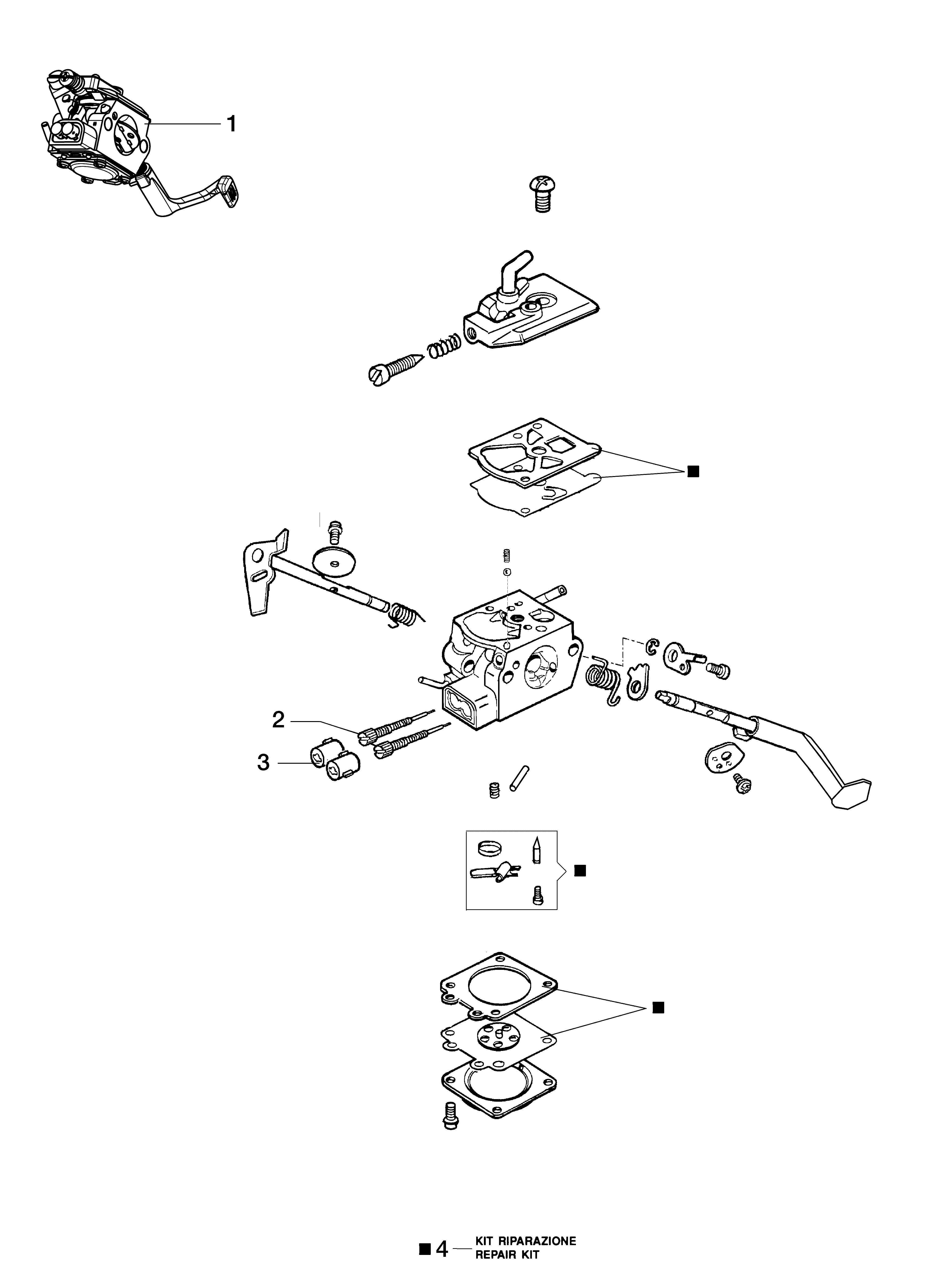 BC 240 T (EURO 2) Débroussailleuse oleomac Dessins pièces vue éclatée Carburateur