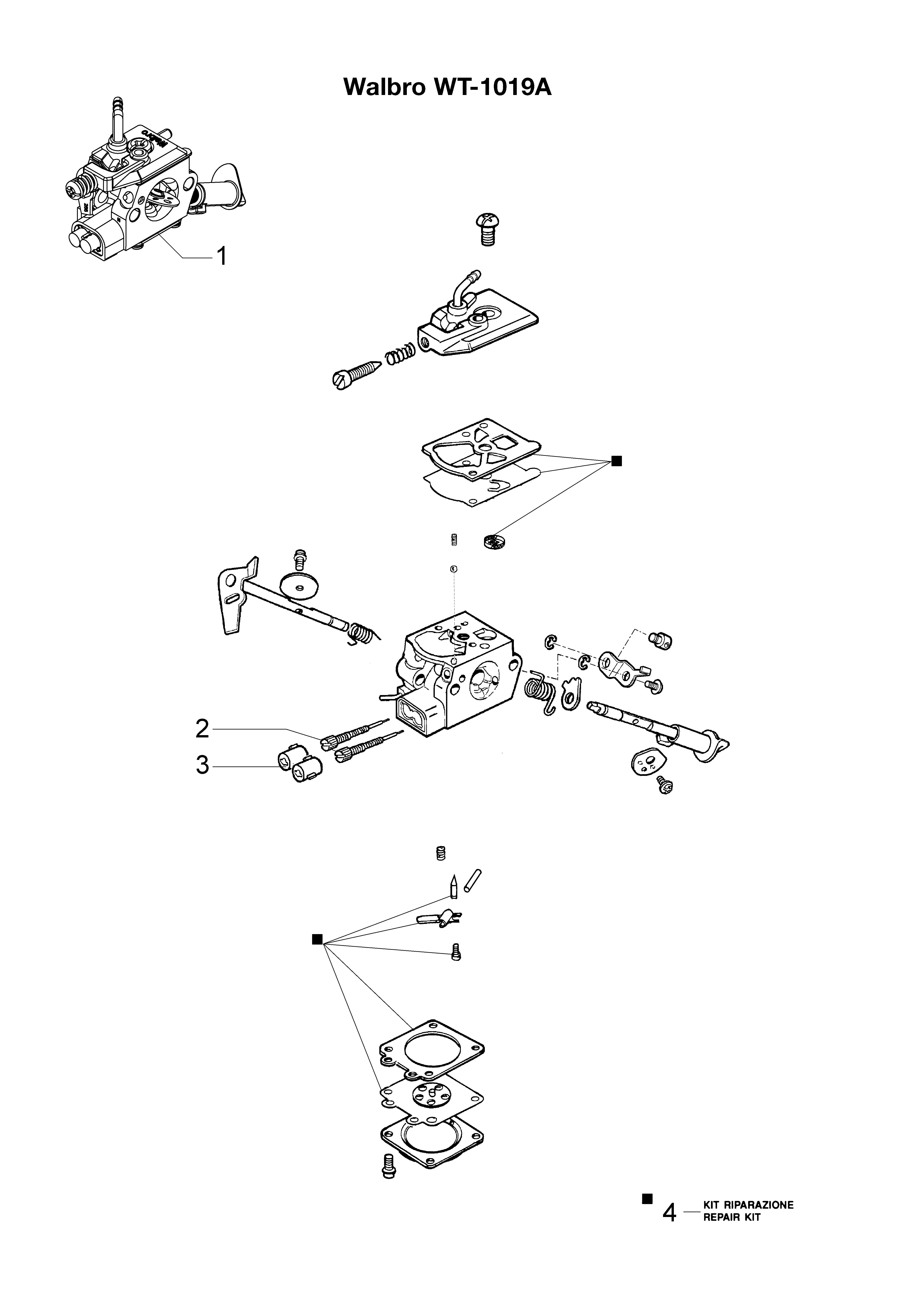 HC 265 XP Taille-haies  OLEOMAC vue éclatée  Dessins pièces -  Carburateur WT-1019A