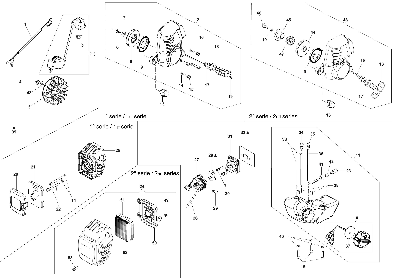 HC 265 XP Taille-haies  OLEOMAC vue éclatée  Dessins pièces -  Dispositif d allumage