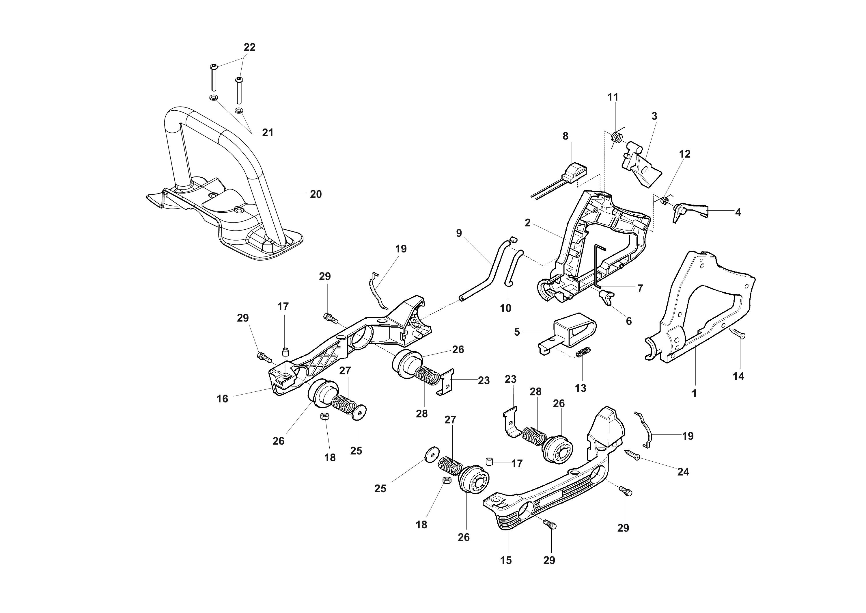 HC 265 XP Taille-haies  OLEOMAC vue éclatée  Dessins pièces -  Poignee