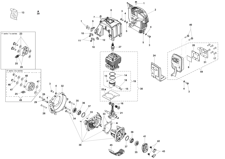 HC 265 XP Taille-haies  OLEOMAC vue éclatée  Dessins pièces -  Groupe moteur