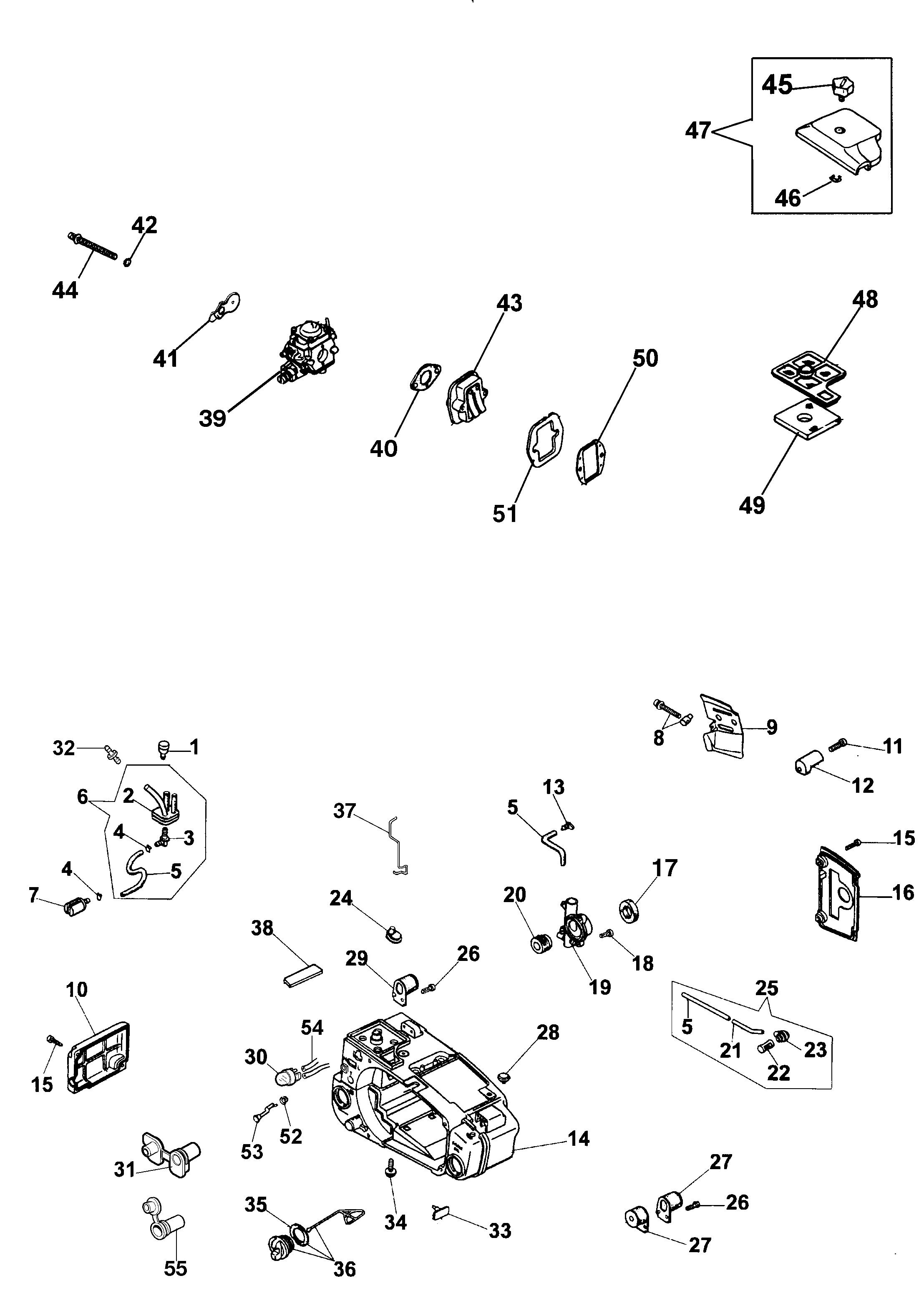 932 C Tronçonneuse oleomac Dessins pièces vue éclatée Réservoir et filtre air