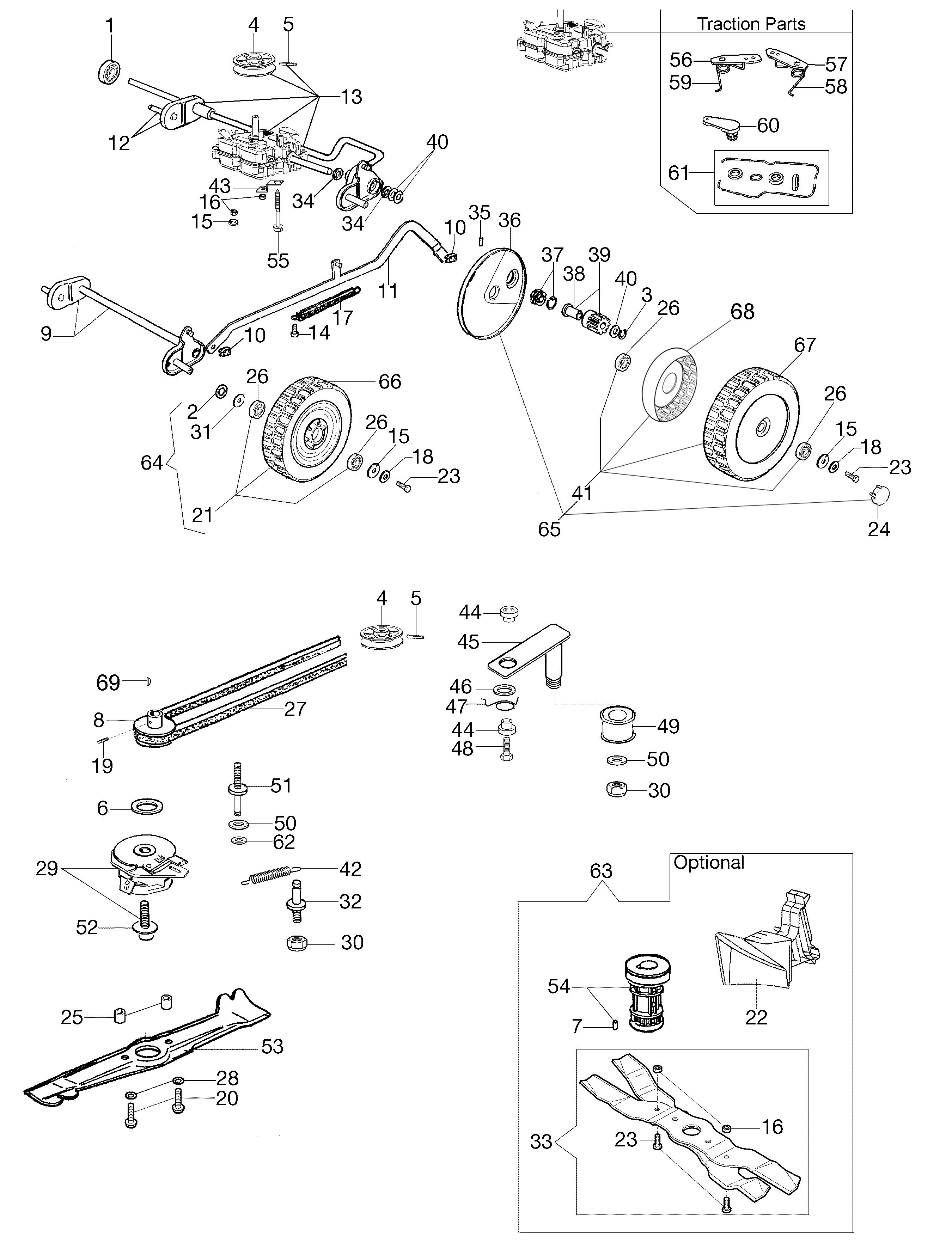 LUX 55 HXF Oleomac vue éclatée Dessins pièces -  Groupe essieu (Depuis mars 13)