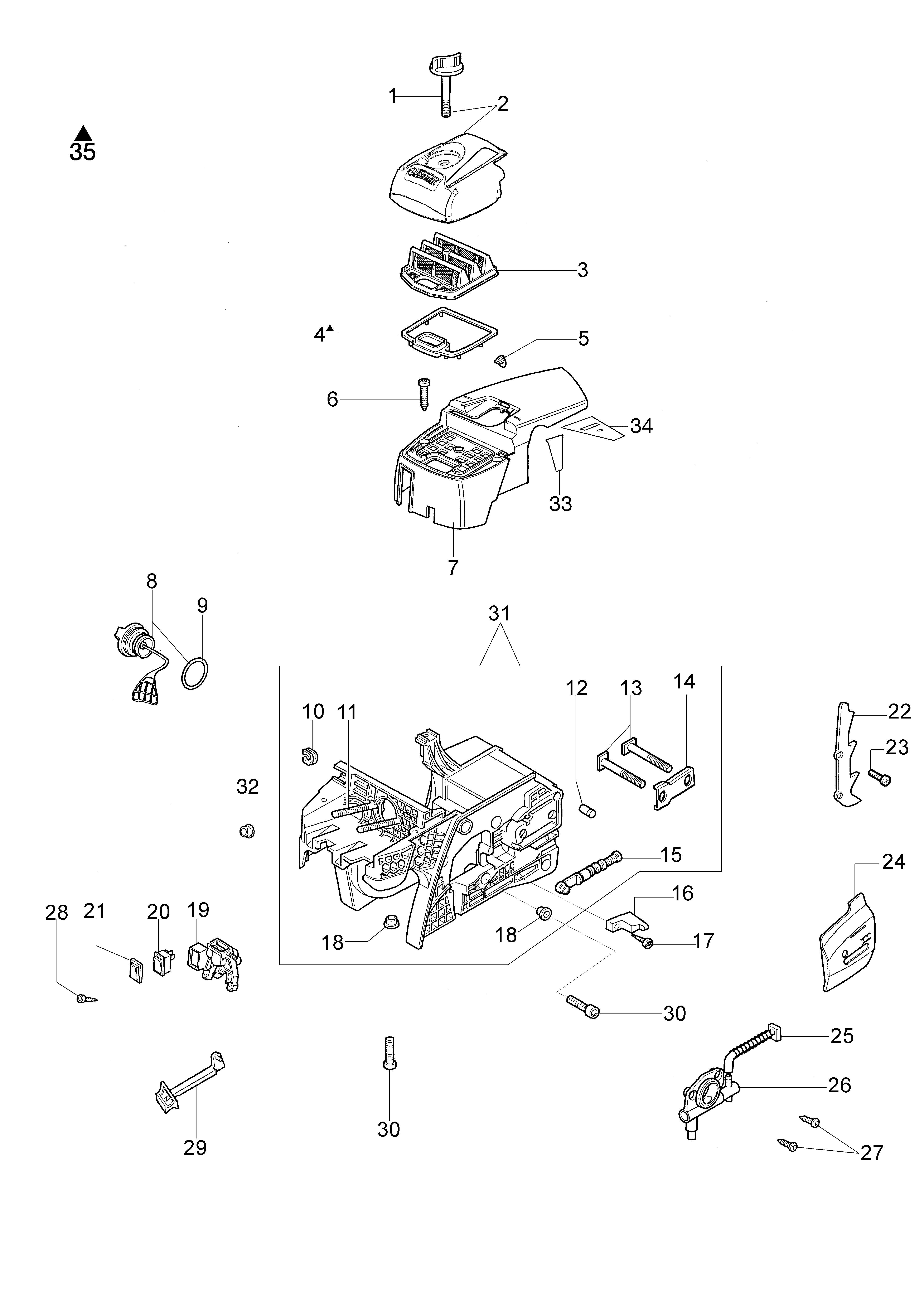 GS 520 Tronçonneuse oleomac Dessins pièces vue éclatée Réservoir et filtre air