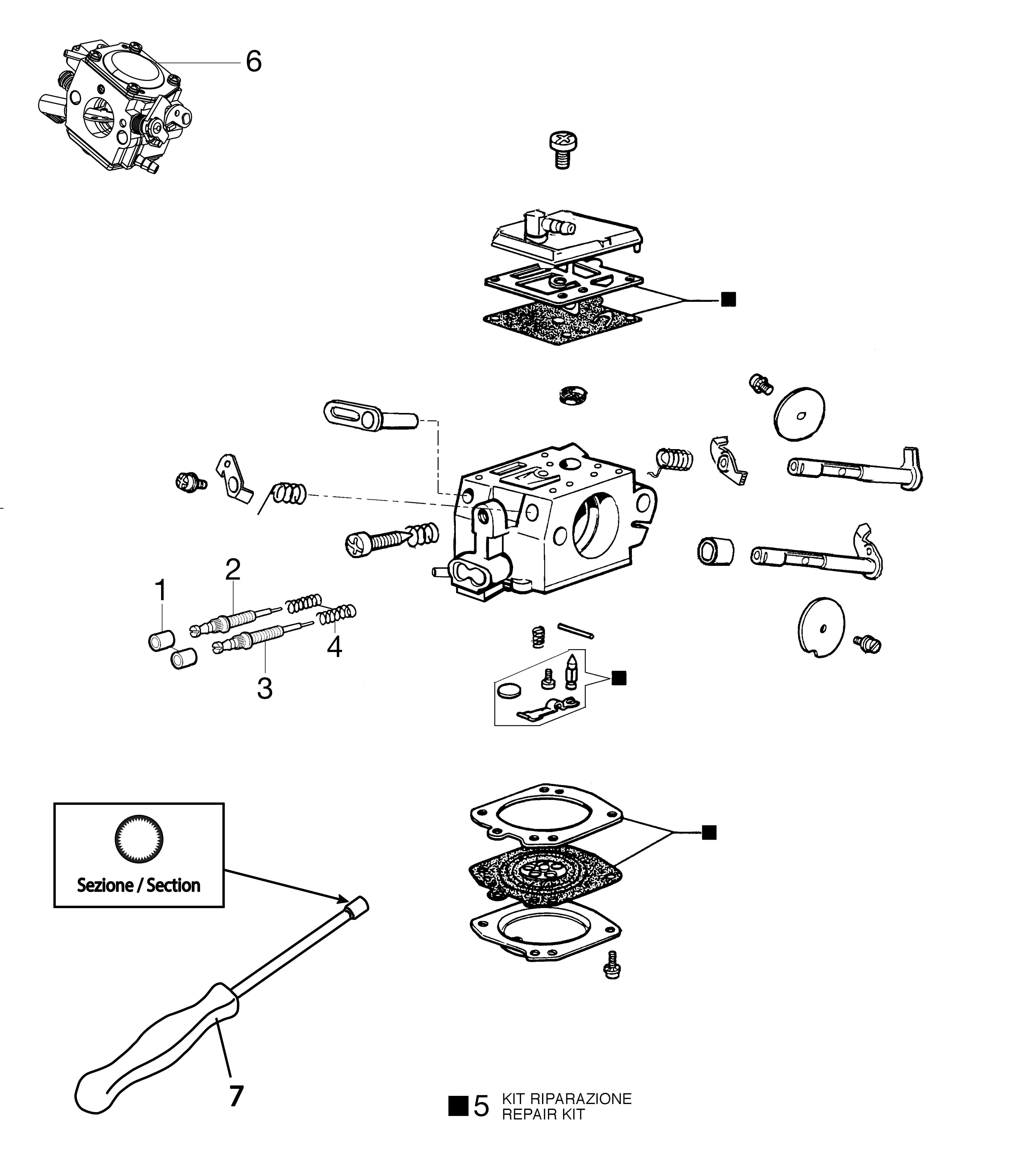 GS 520 Tronçonneuse oleomac Dessins pièces vue éclatée Carburateur HDA-314