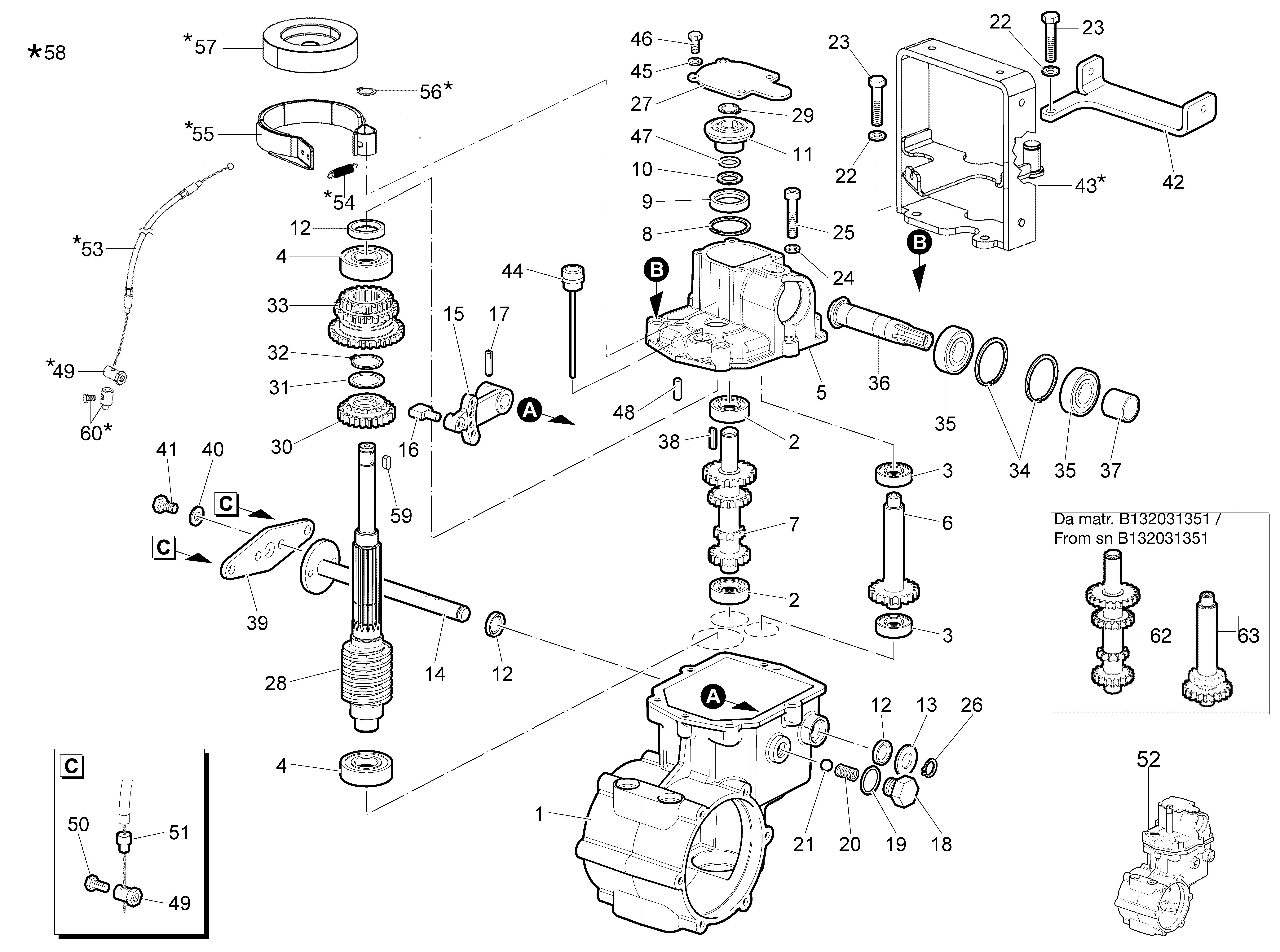 WB 80 KR 11 Tondeuse à fléaux  Oleomac Vue éclatée  Dessins pièces -  Engrenages de la boite a vitesse - avec frein depuis sn B133181826