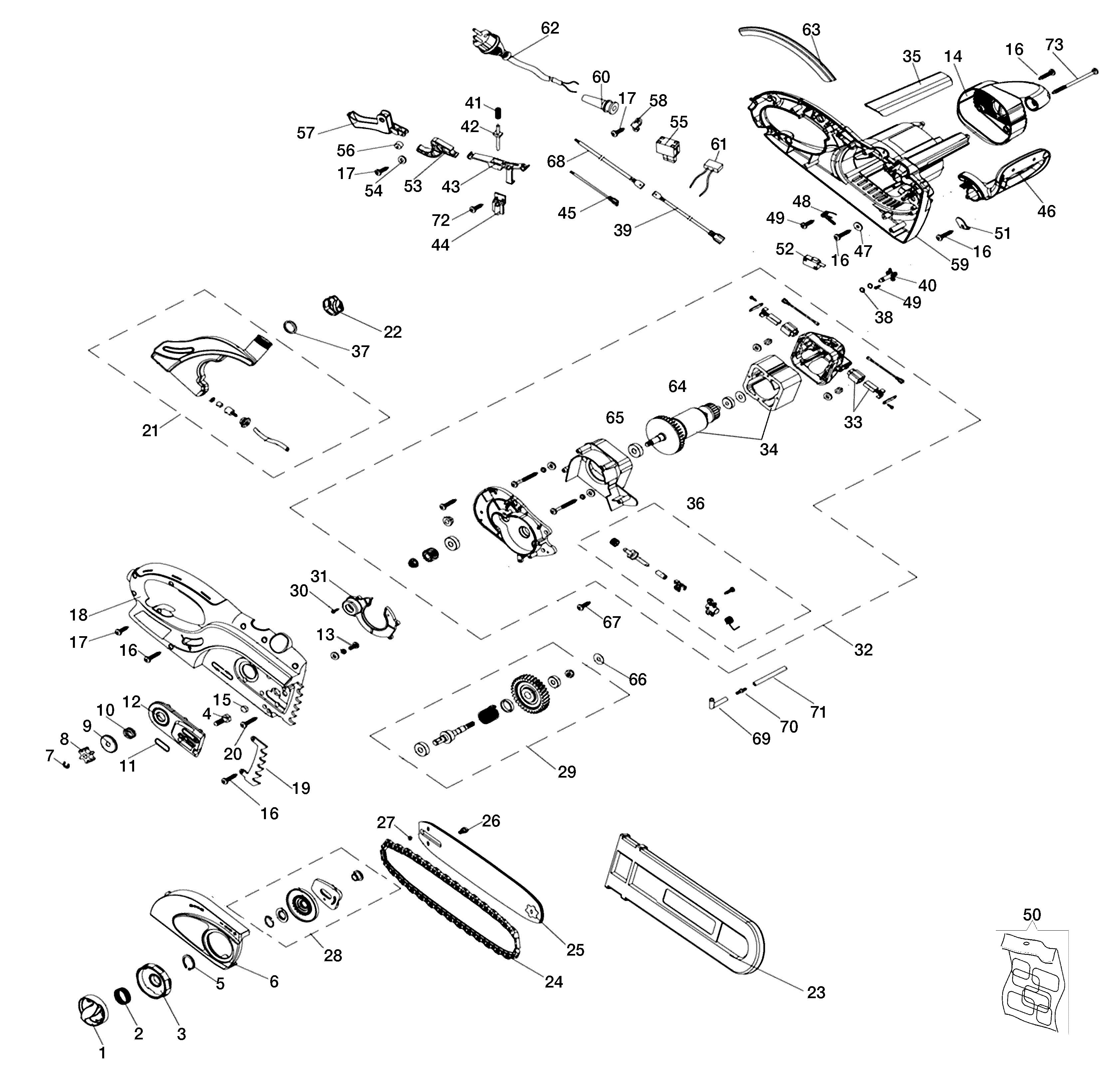 GS 200 E Tronçonneuse électrique OLEOMAC Dessins pièces -  Vue éclatée complète
