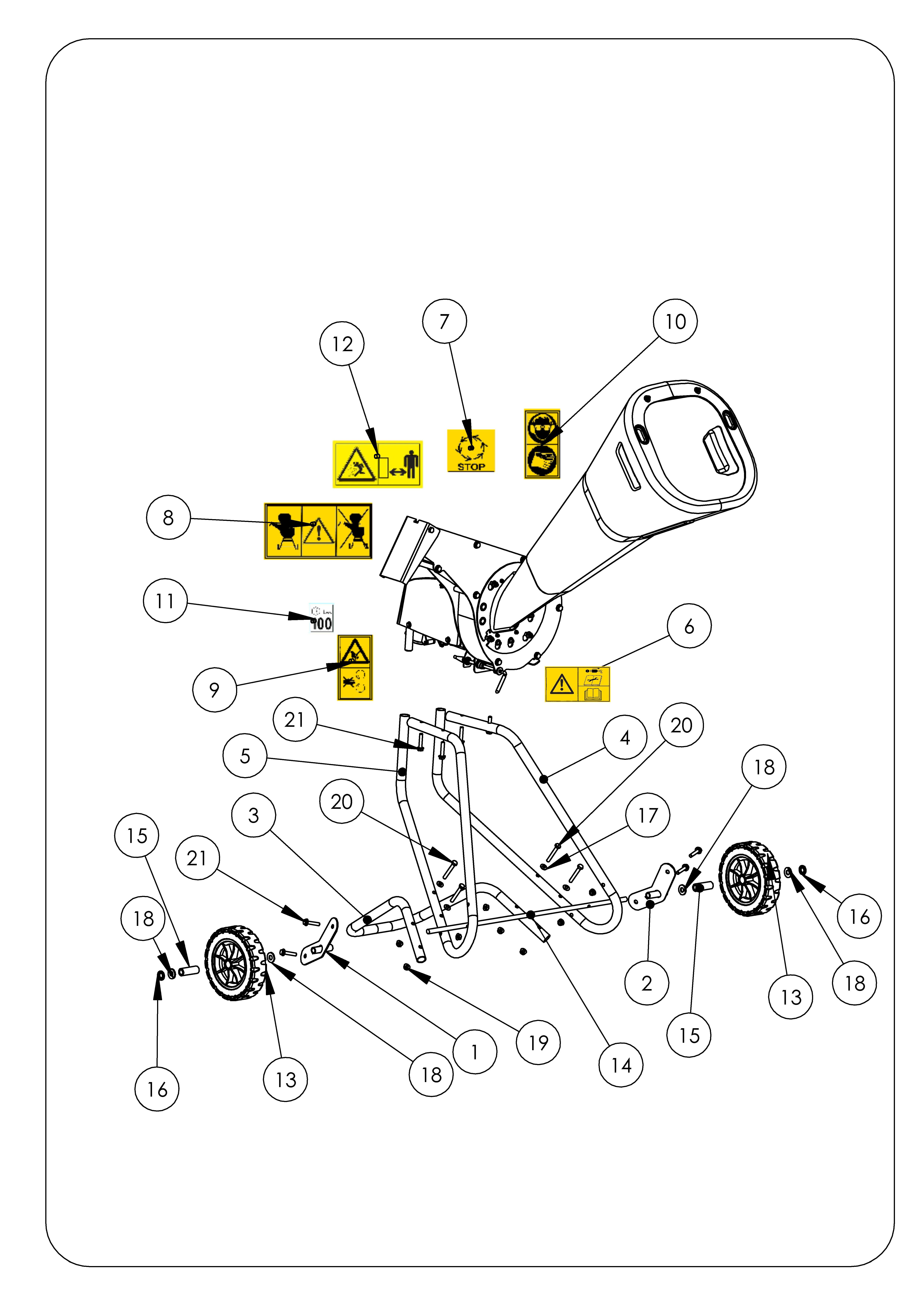OMB élec version 2013 OLEOMAC Broyeur à végétaux  Dessins pièces vue éclatée -  Châssis
