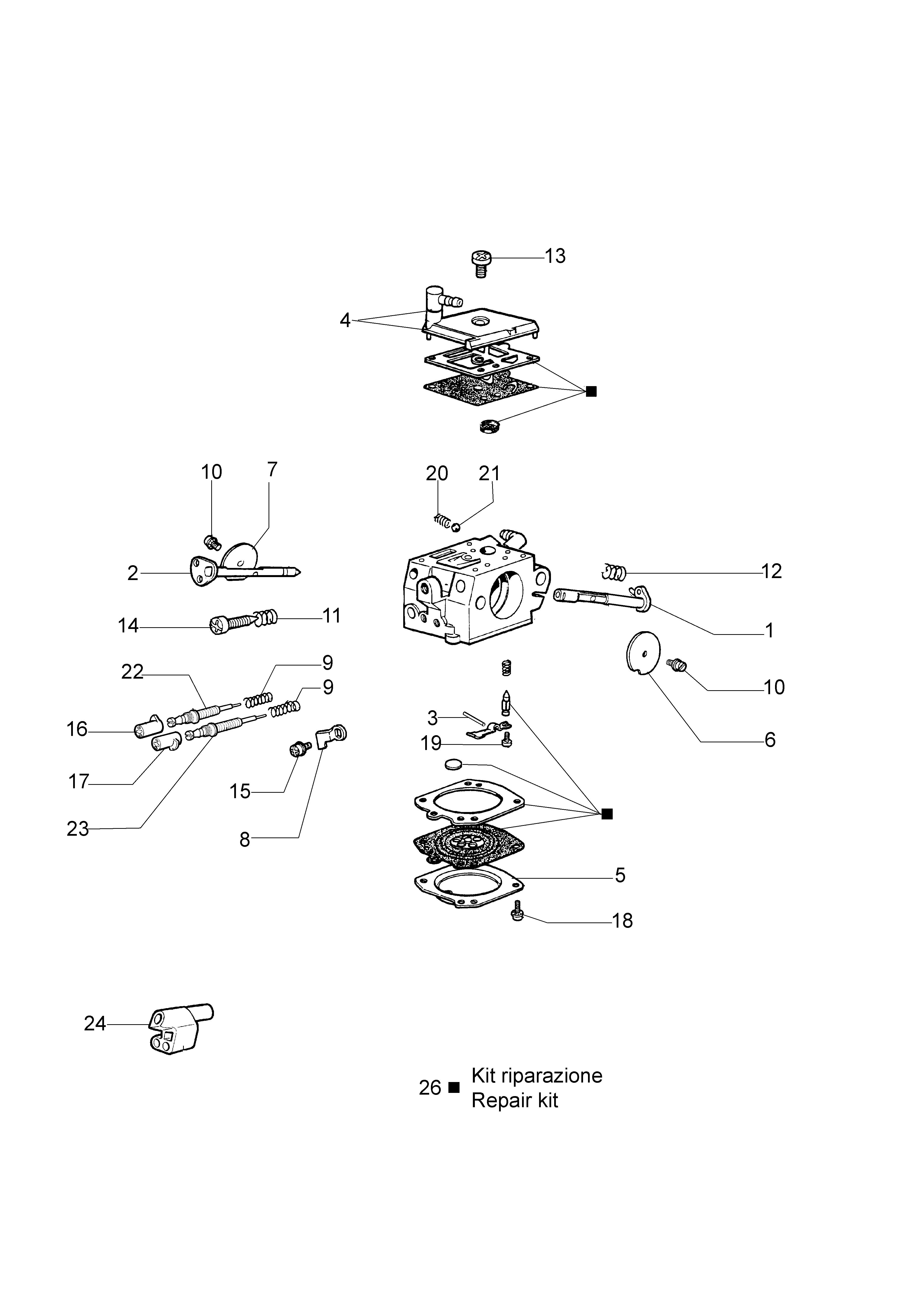 962 Tronçonneuse oleomac Dessins pièces vue éclatée Carburateur HDA-160C