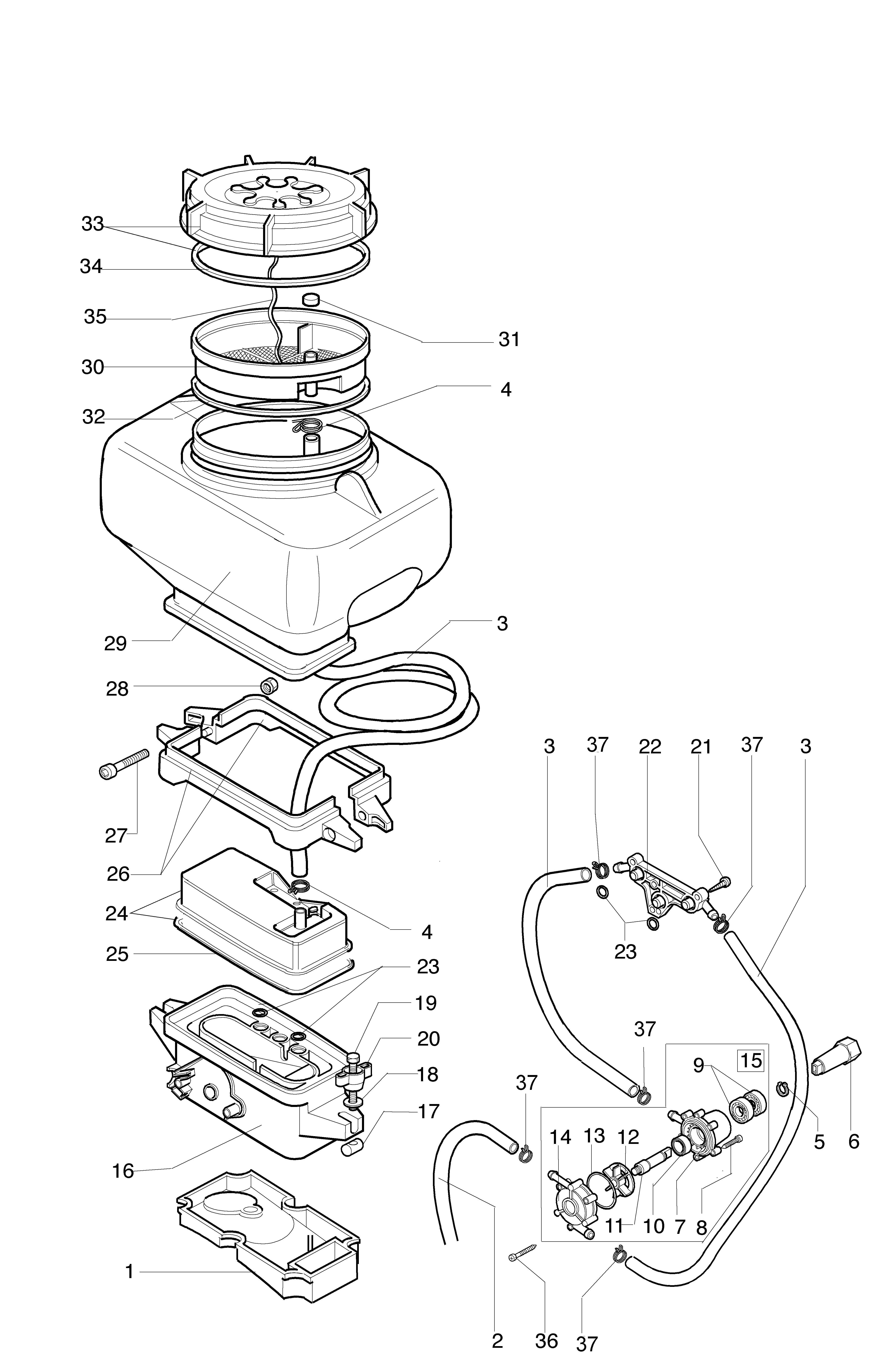 AM 162 Atomiseur oleomac Dessins pièces vue éclatée  Réservoir des liquides