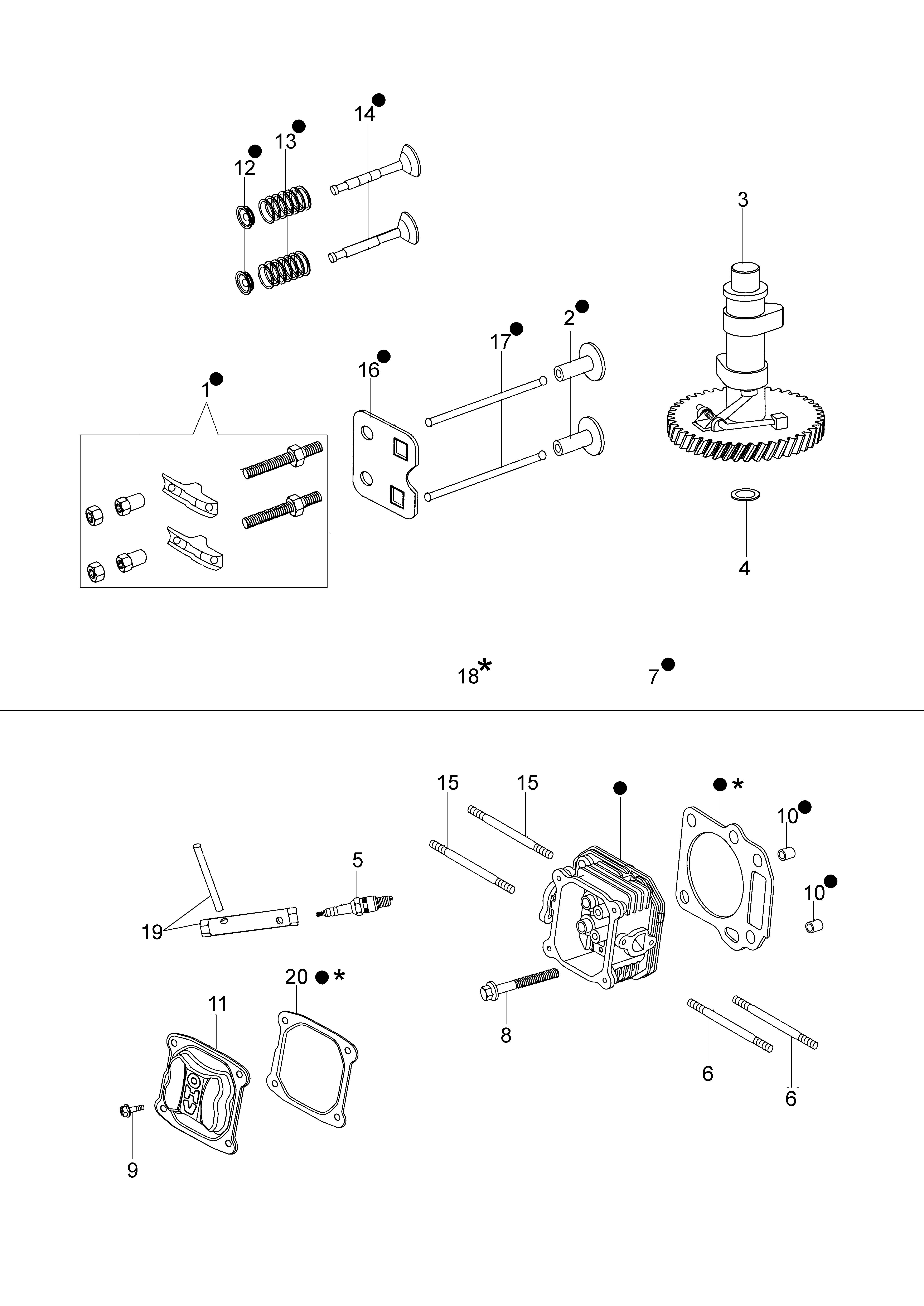 Moteur emak K500 vue éclatée Dessins pièces -  Tête cylindre et soupape