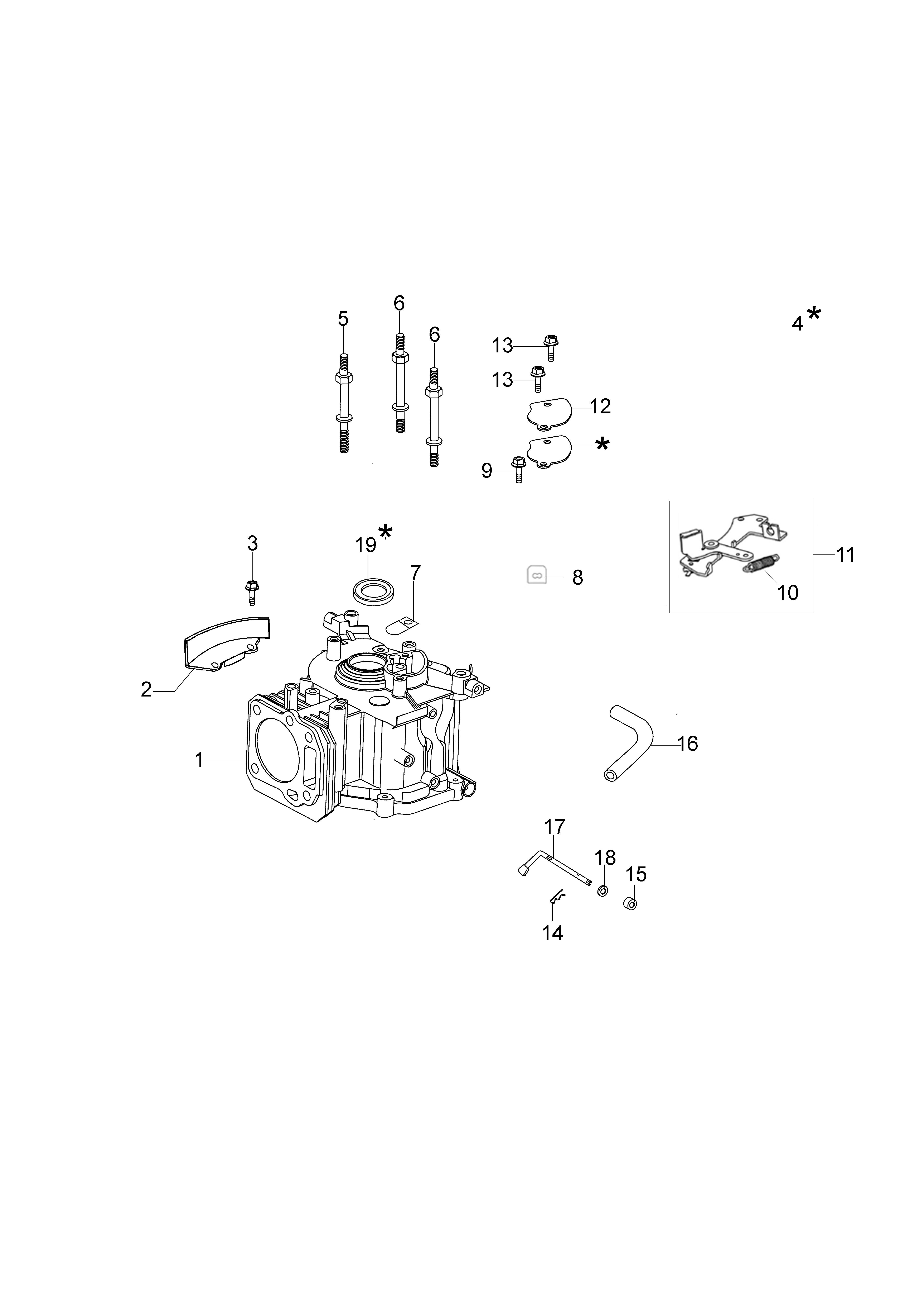 MOTEUR K500 emak vue éclatée Dessins pièces - Cylindre et soubassement