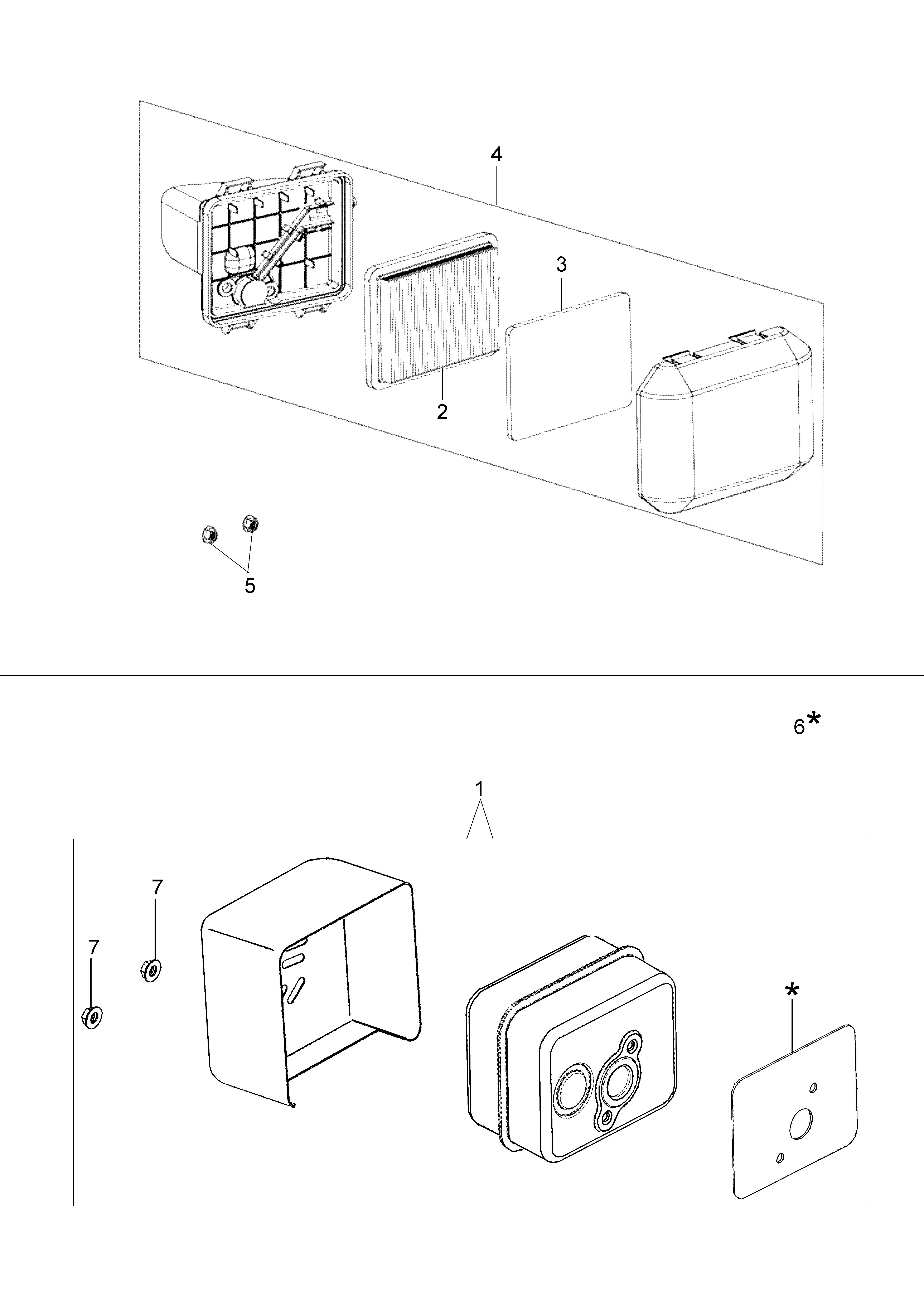 MOTEUR K500 Emak vue éclatée Dessins pièces - Filtre air et pot d échappement