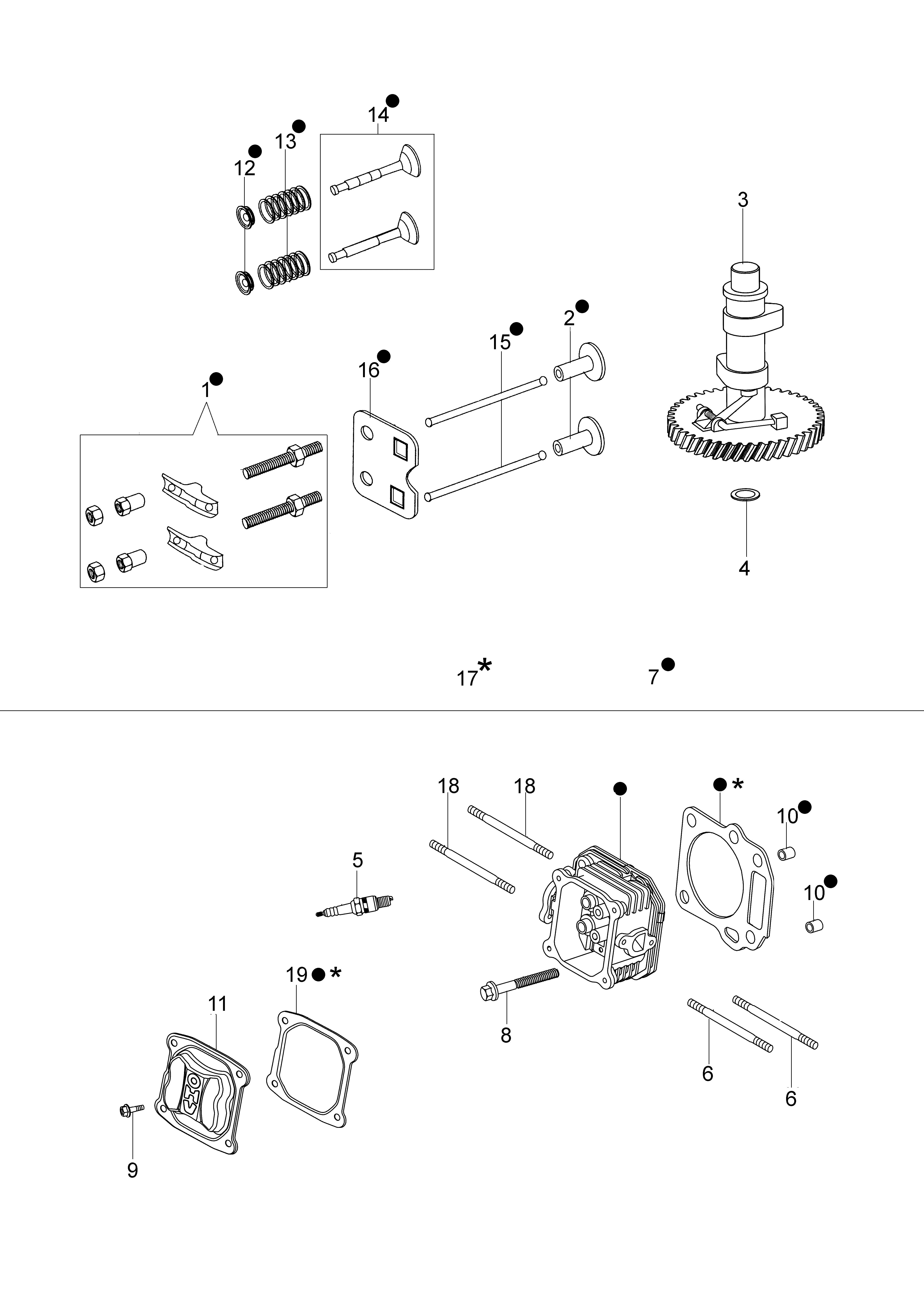 MOTEUR K650 Emak vue éclatée Dessins pièces - Tête cylindre et soupape