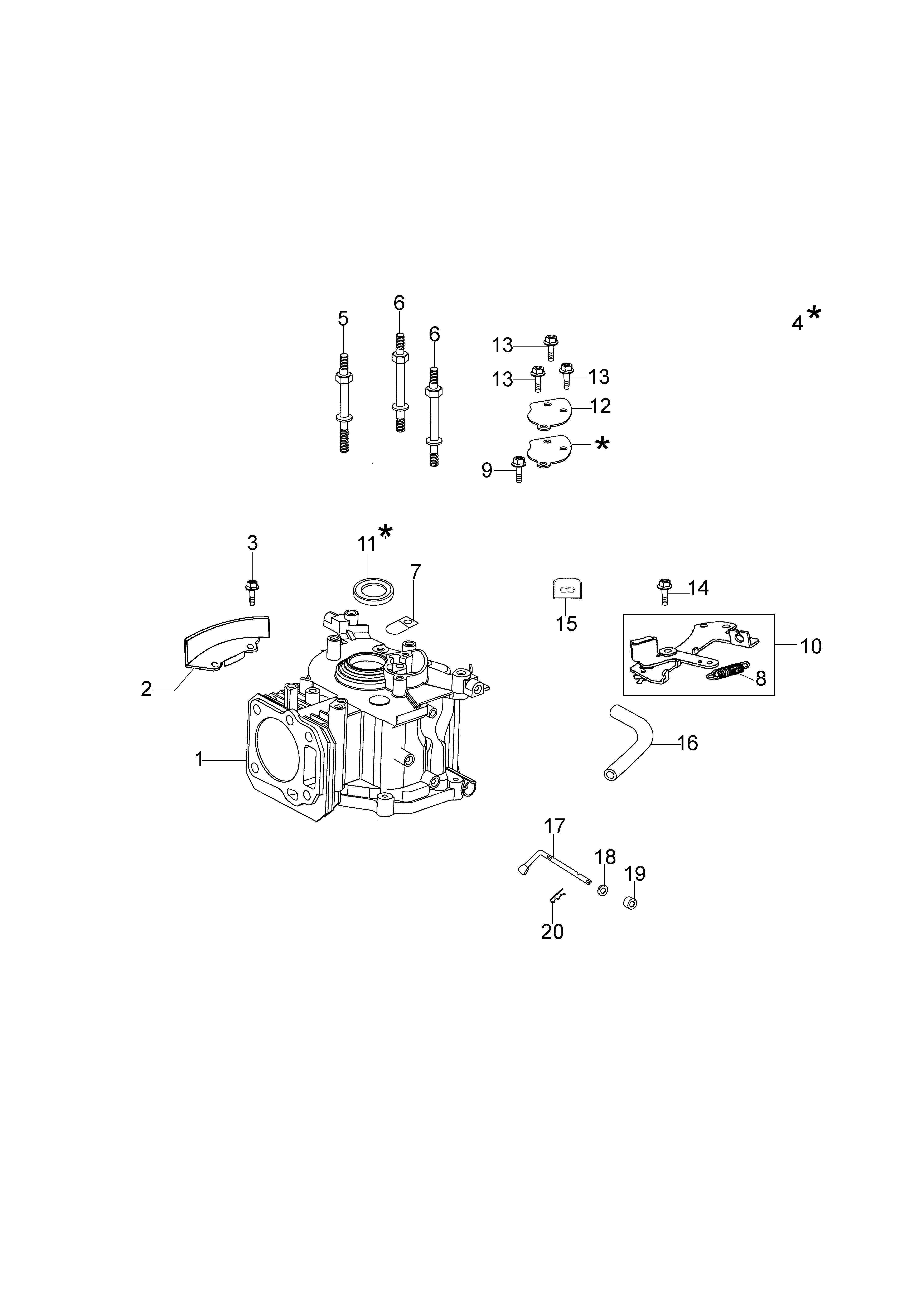 MOTEUR K650 emak vue éclatée Dessins pièces - Cylindre et soubassement