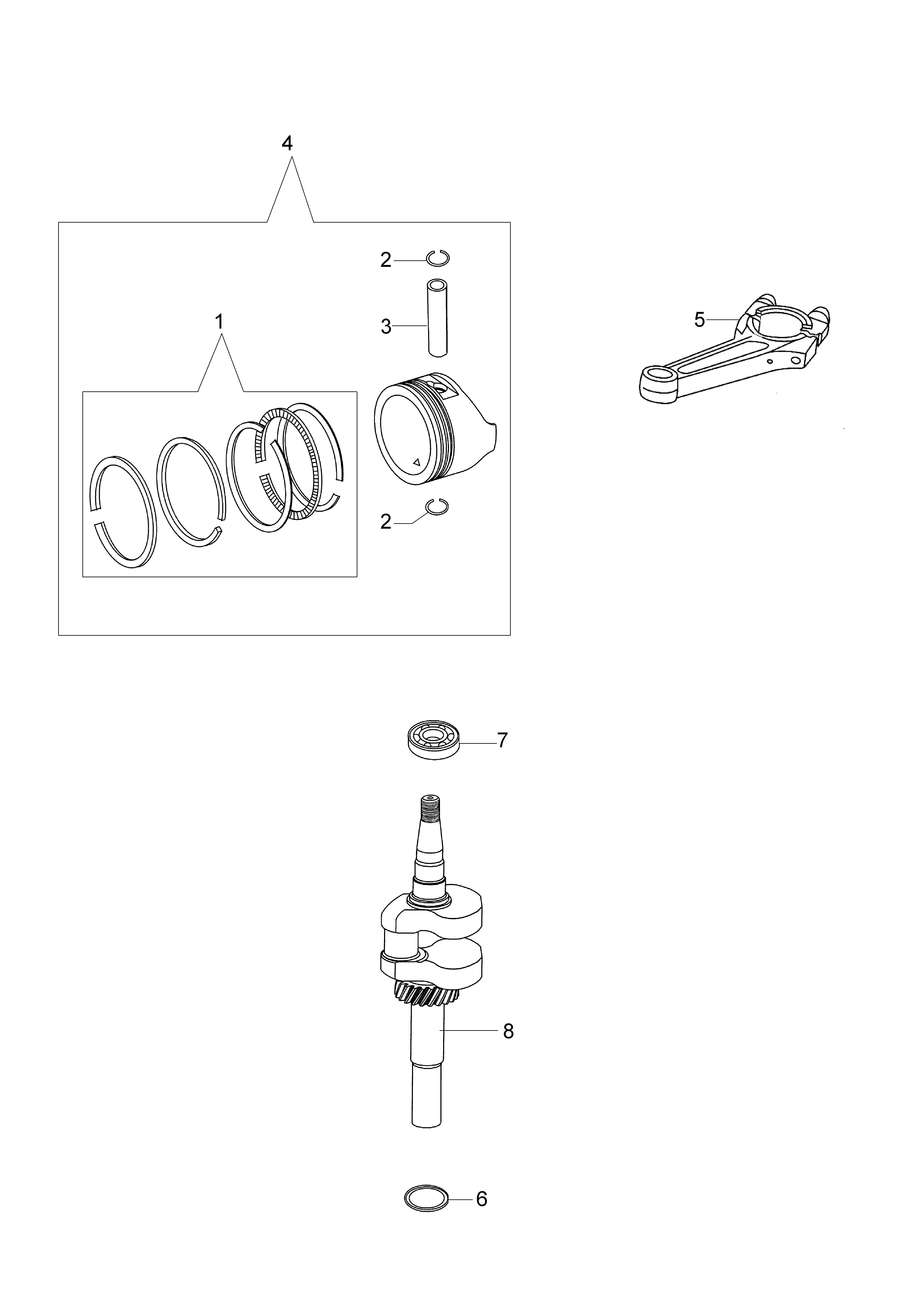 MOTEUR K650 emak  vue éclatée Dessins pièces -  Vilebrequin et piston