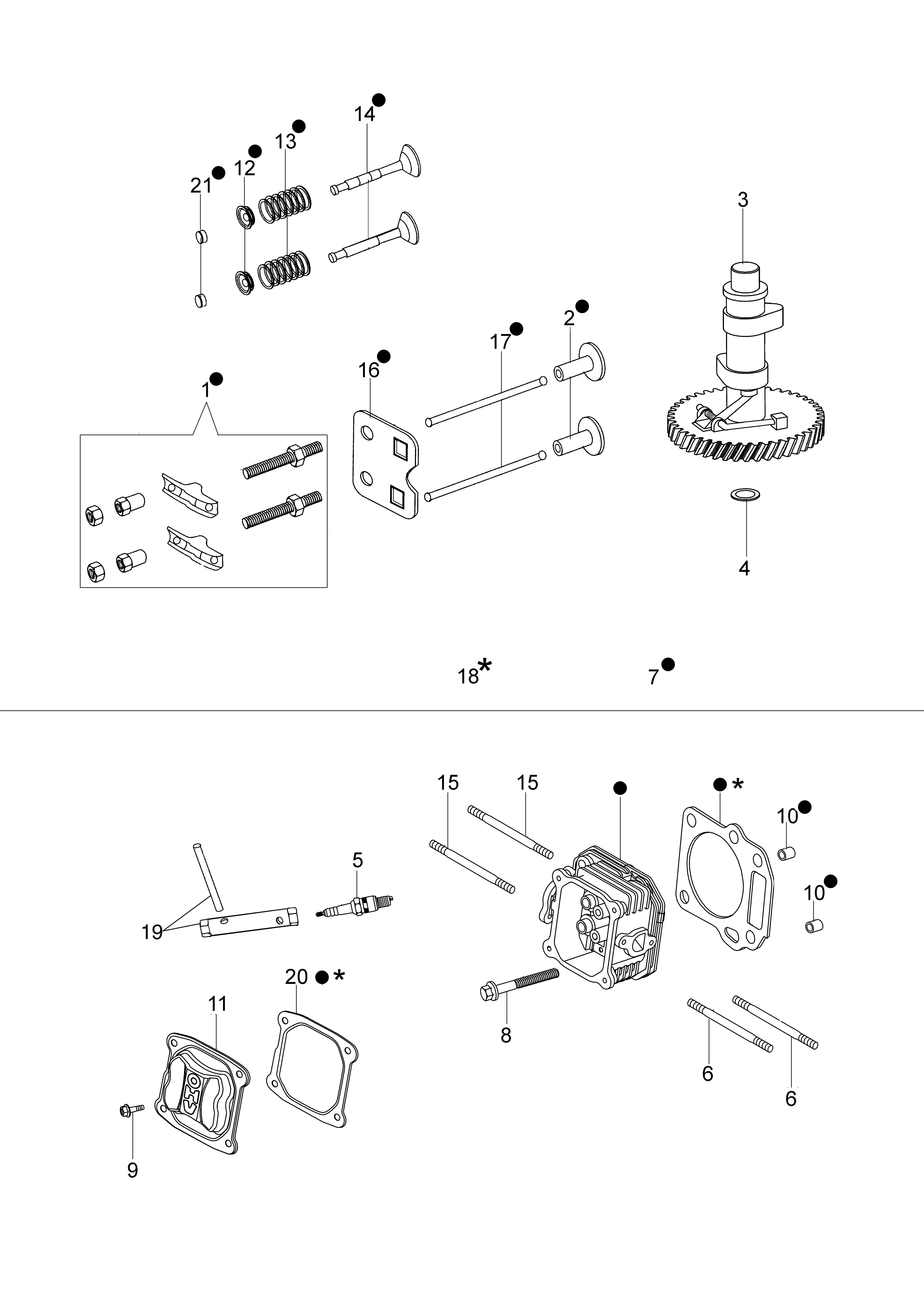 MOTEUR K700 Emak vue éclatée Dessins pièces - Tête cylindre et soupape