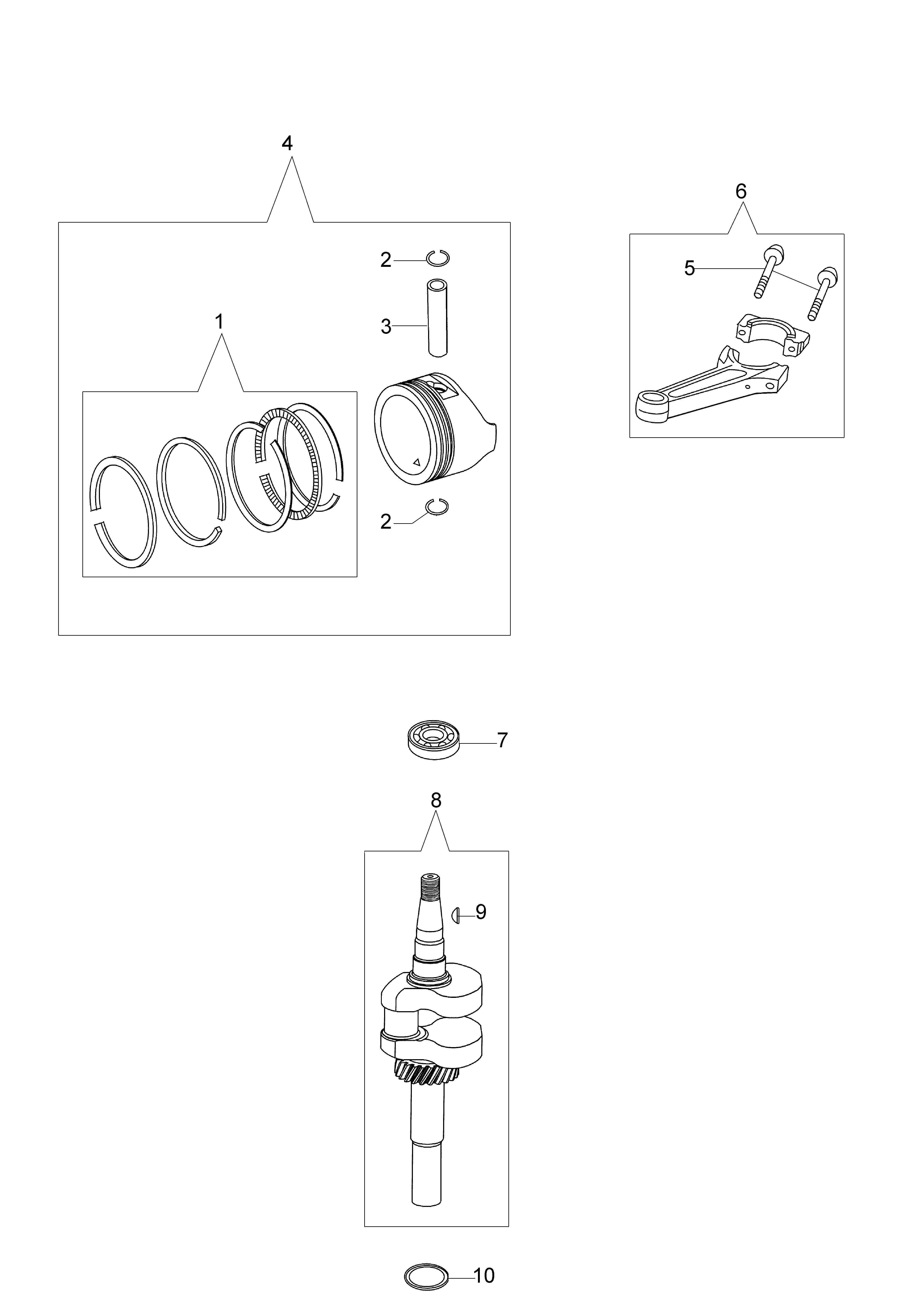 MOTEUR K700 emak  vue éclatée Dessins pièces -  Vilebrequin et piston