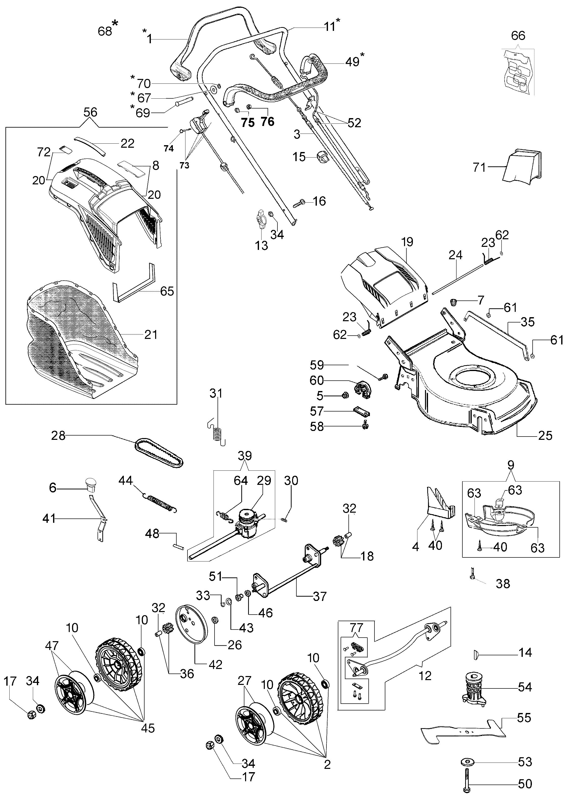G 48 TK COMFORT PLUS Tondeuses Oleomac Dessins pièces - Vue éclatée complète