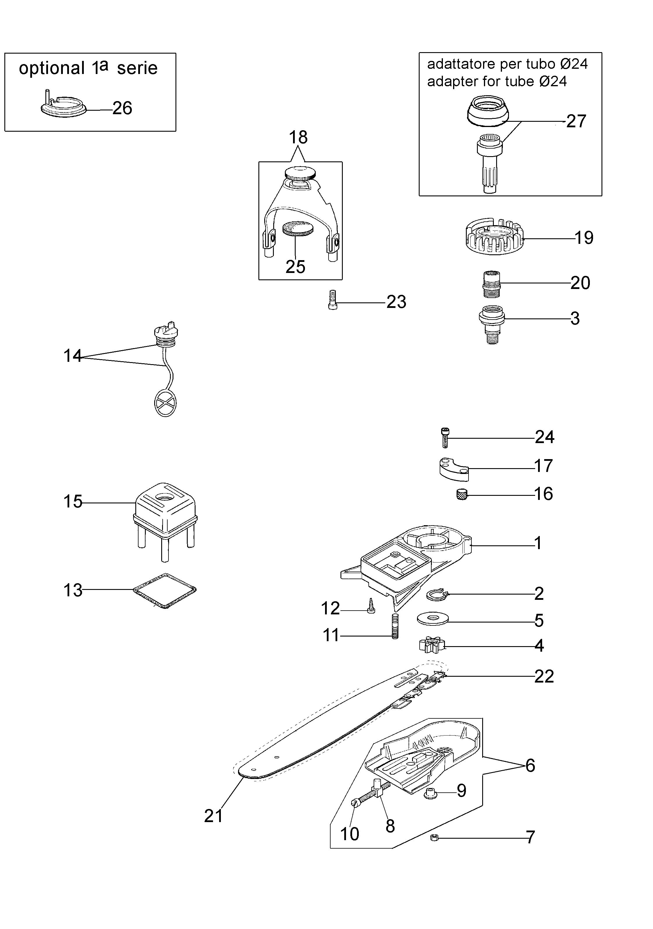 EP 100 Accessoire pruner OLEOMAC vue éclatée Dessins pièces -  Vue éclatée complète