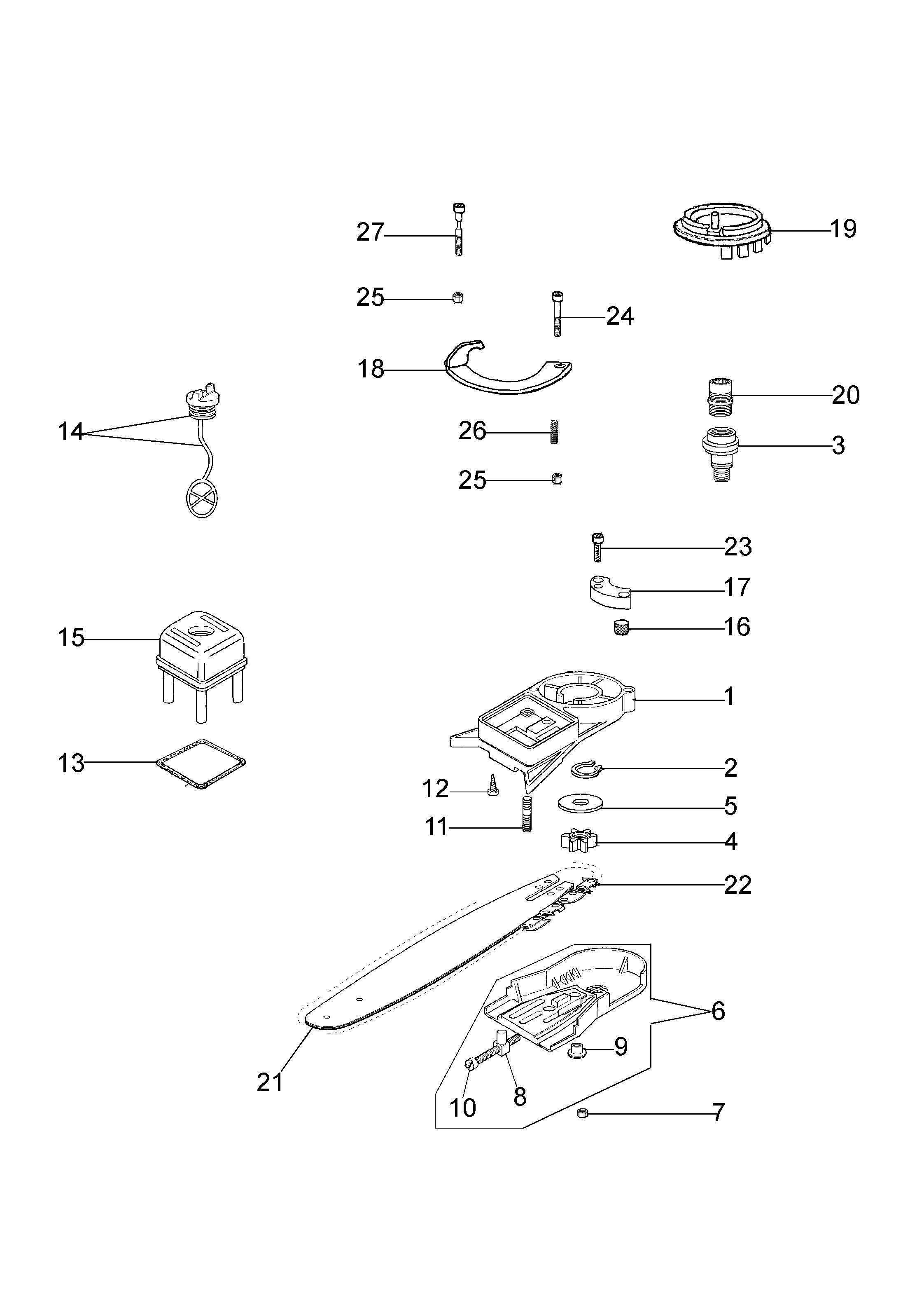 EP 90 Accessoire pruner OLEOMAC vue éclatée Dessins pièces -  Vue éclatée complète